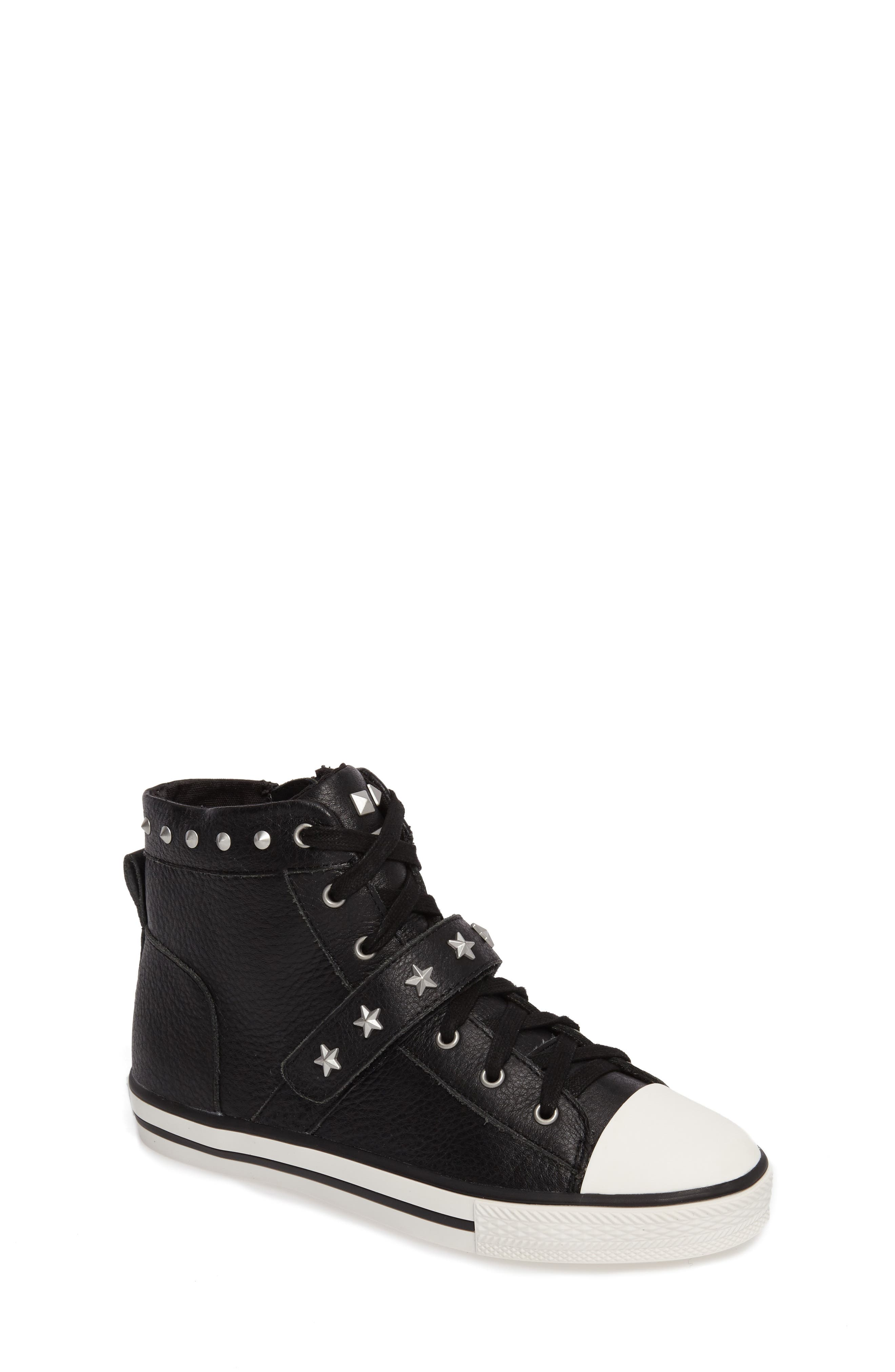 Vava Curve Studded High Top Sneaker,                         Main,                         color, Black Leather