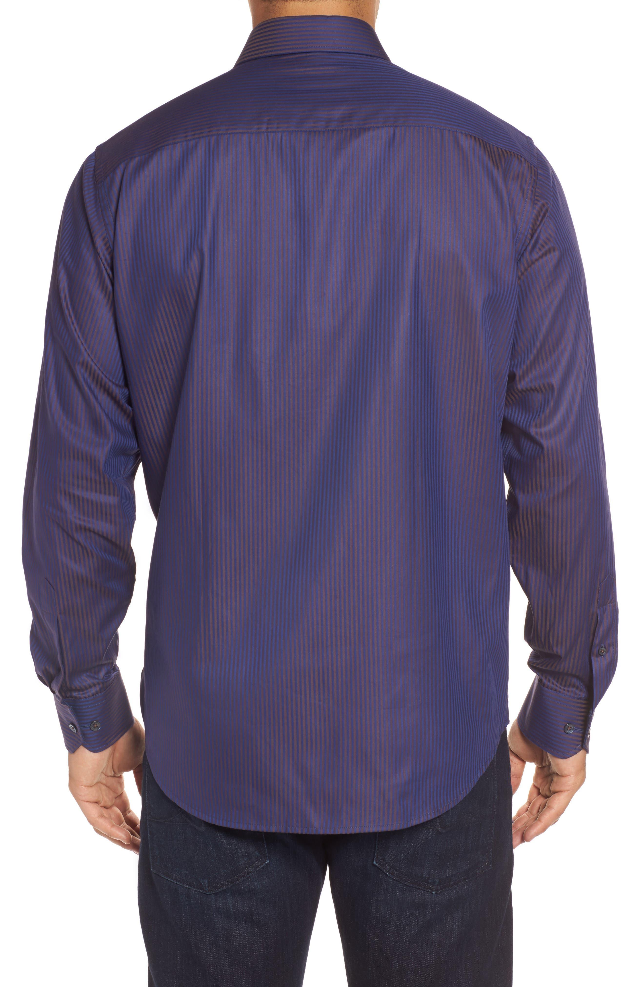Alternate Image 2  - Bugatchi Classic Fit Herringbone Pinstripe Sport Shirt