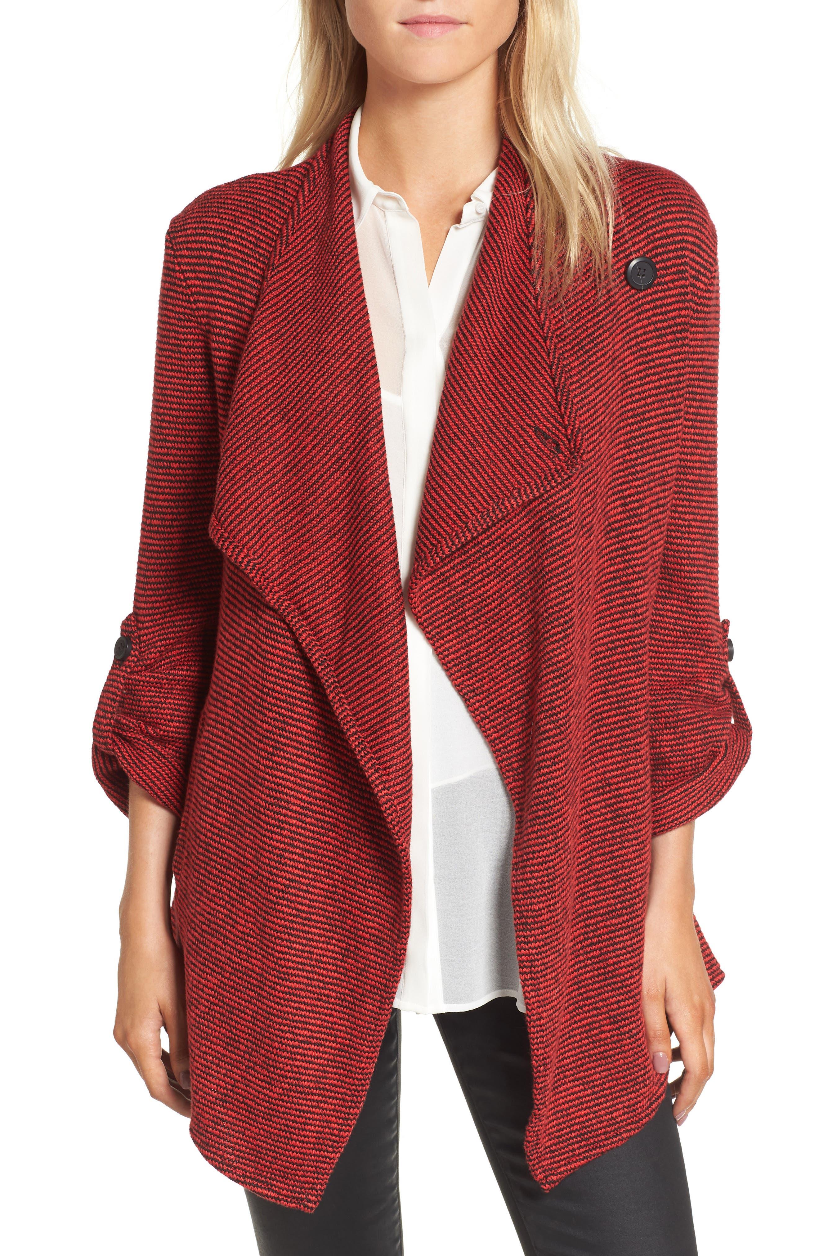BB Dakota Micro Stripe Knit Drape Jacket
