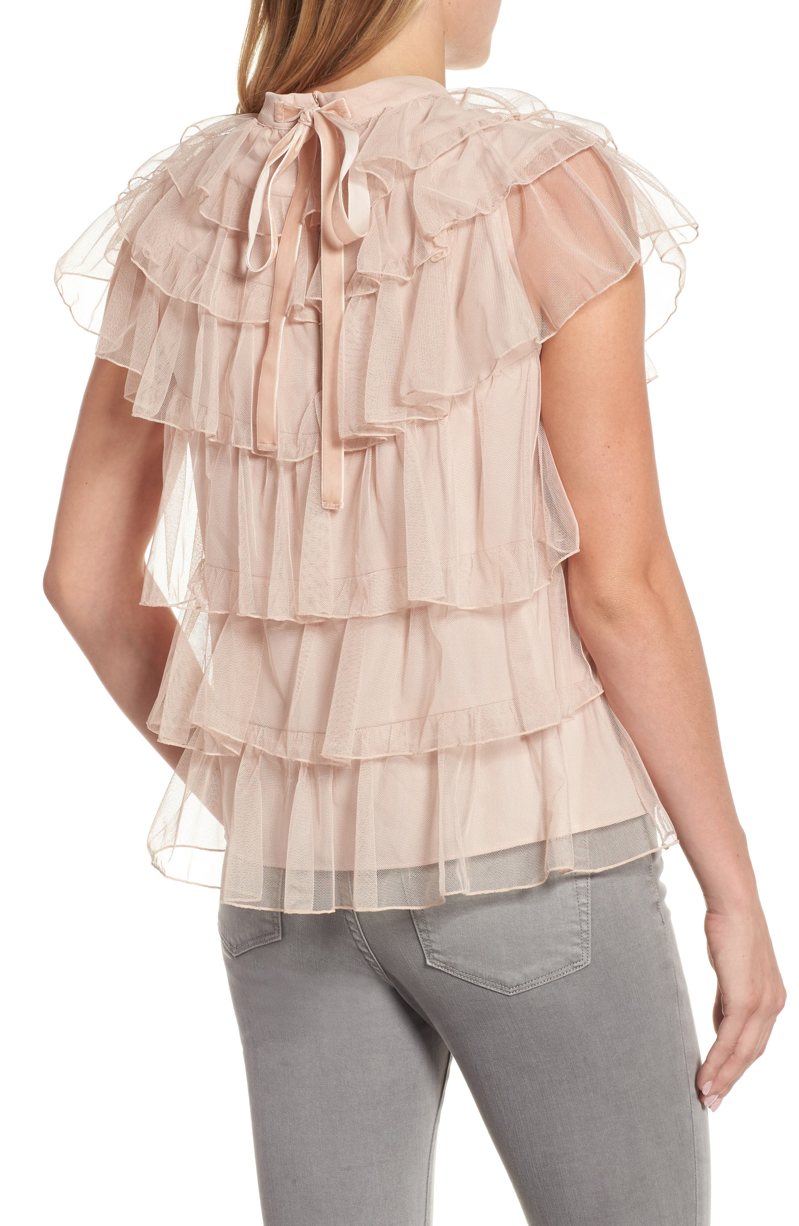 Tie Back Tiered Mesh Top,                             Alternate thumbnail 2, color,                             Blush