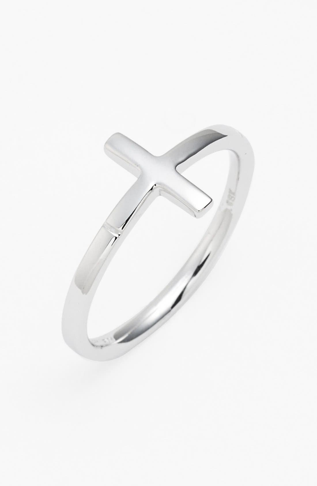 14k Gold Cross Ring,                         Main,                         color, White Gold