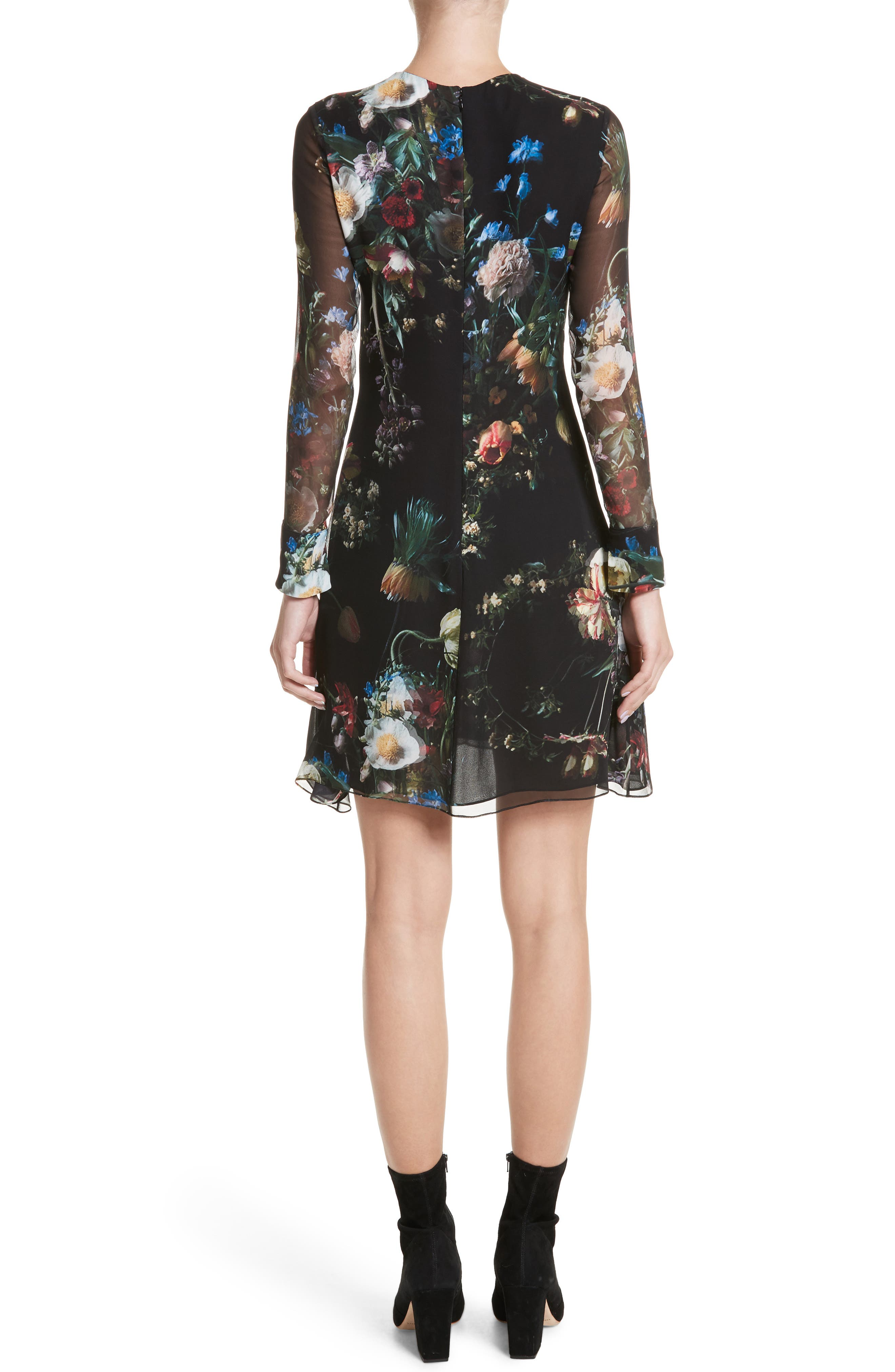 Floral Print Silk Minidress,                             Alternate thumbnail 2, color,                             Black