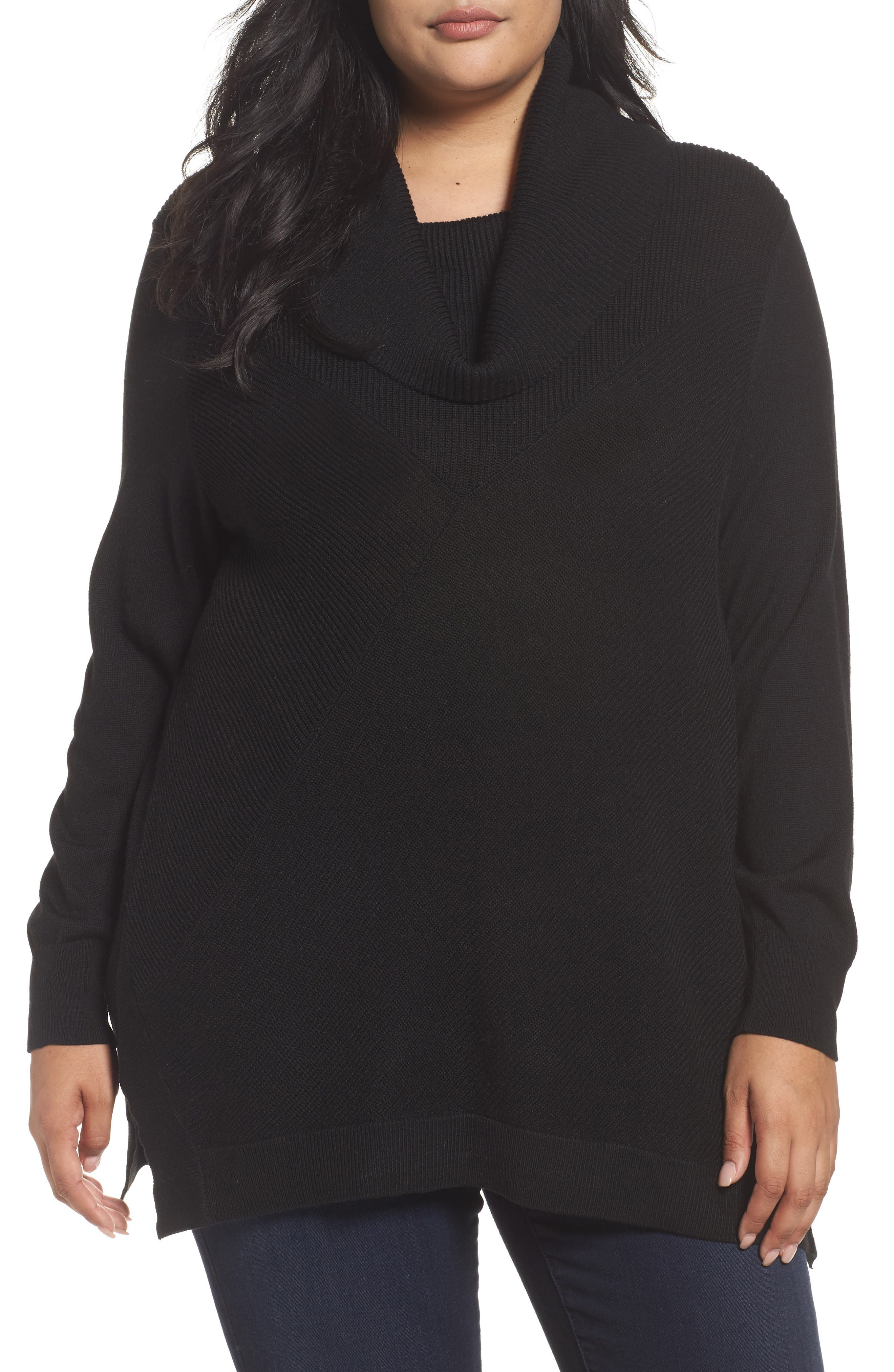 Sejour Cowl Neck Ribbed Trim Pullover (Plus Size)