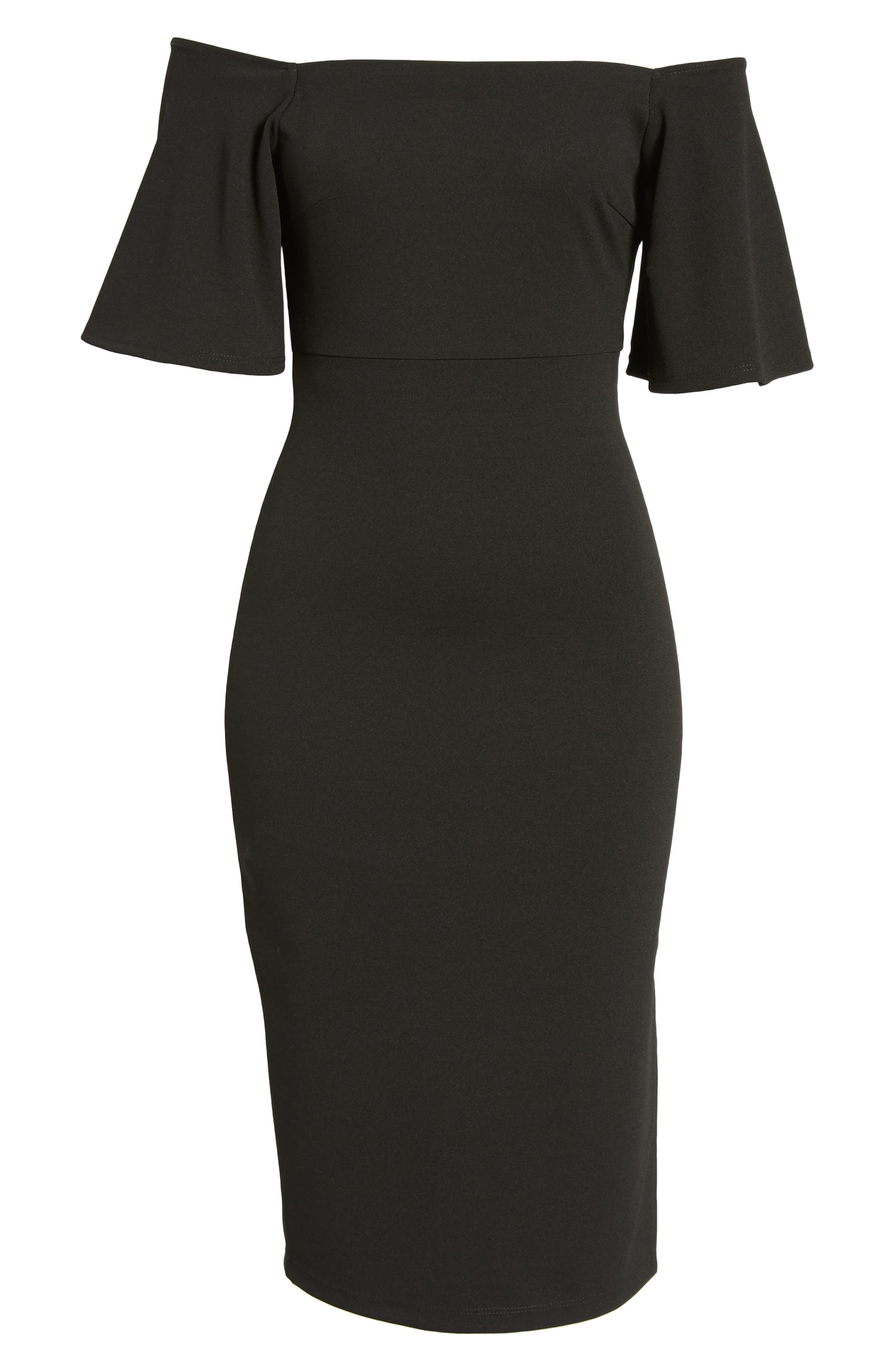 Off the Shoulder Ponte Body-Con Dress,                             Alternate thumbnail 6, color,                             Black
