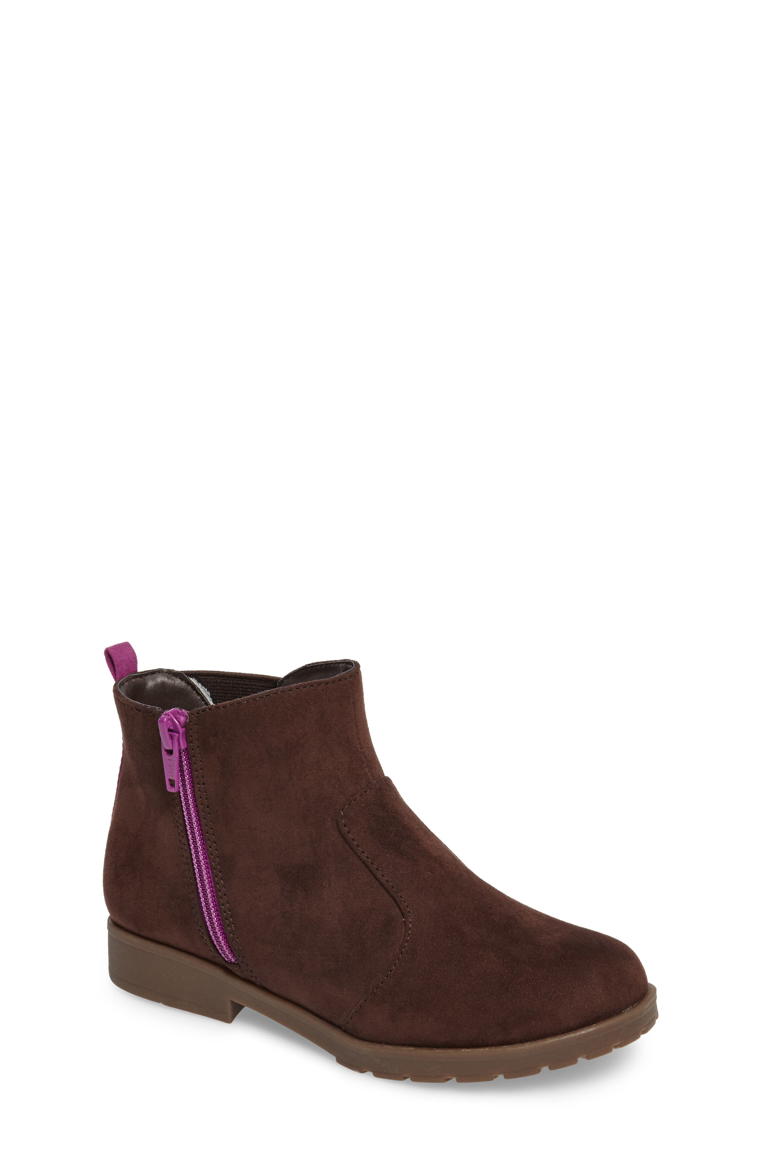 Lucy Zip Bootie,                             Main thumbnail 1, color,                             Chocolate