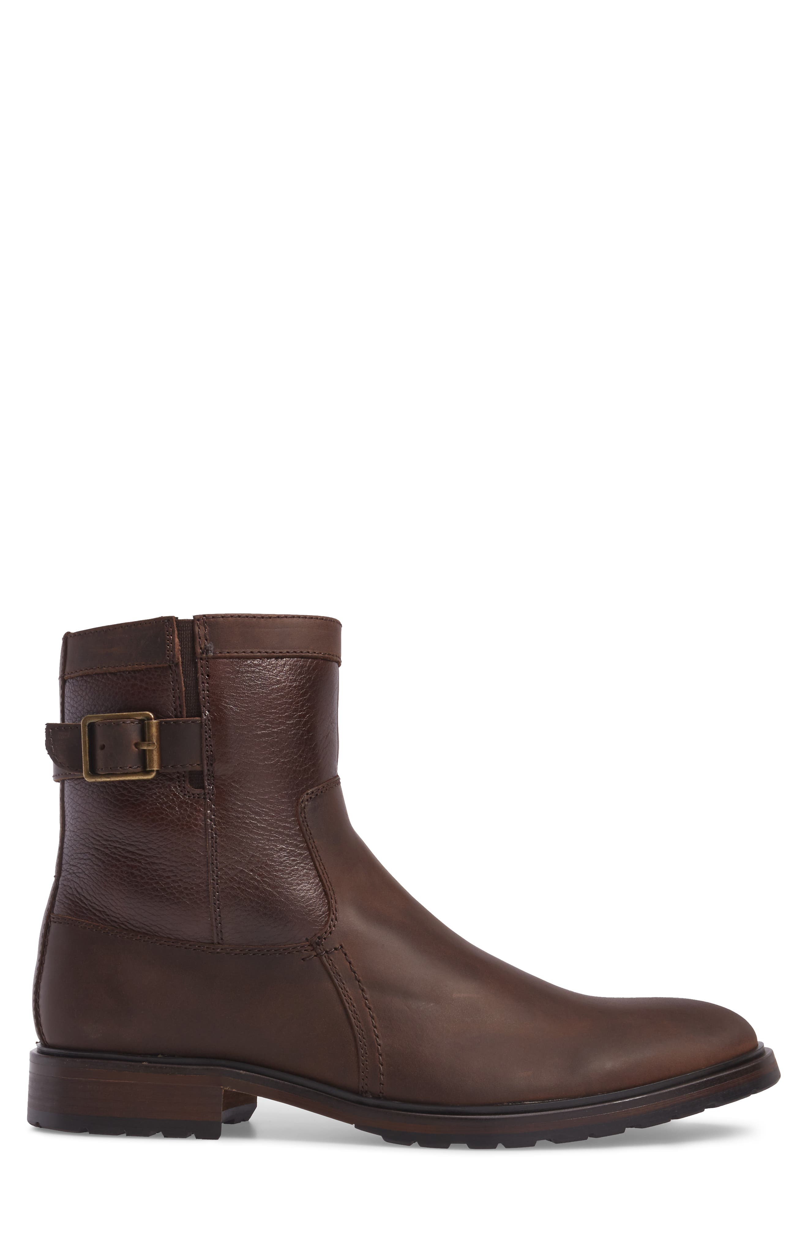 Myles Zip Boot,                             Alternate thumbnail 3, color,                             Dark Brown Leather