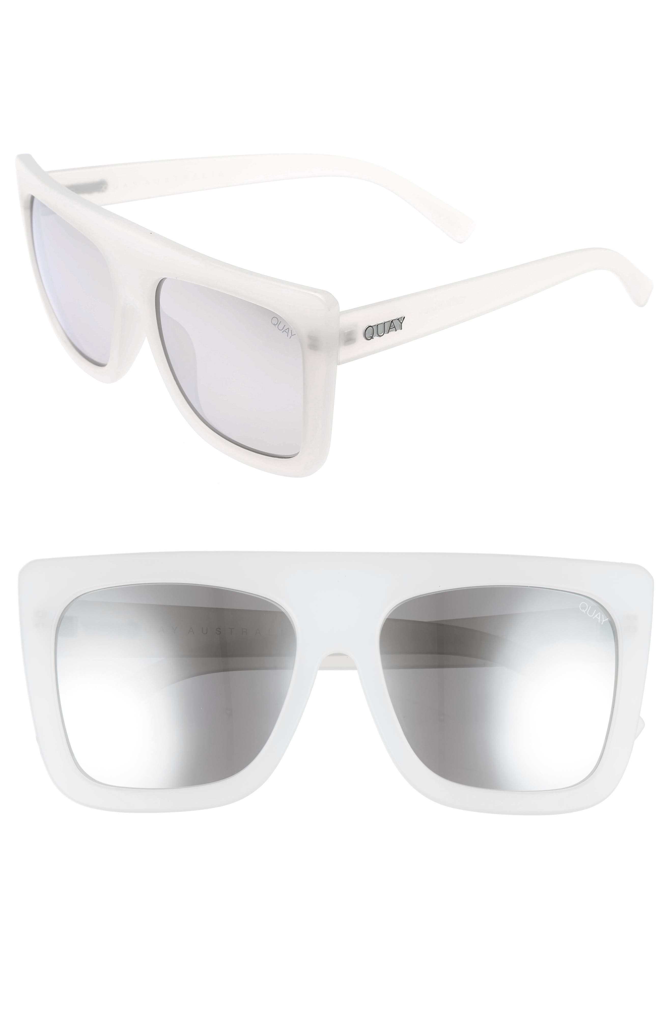 Cafe Racer 60mm Sunglasses,                             Main thumbnail 1, color,                             White Silver