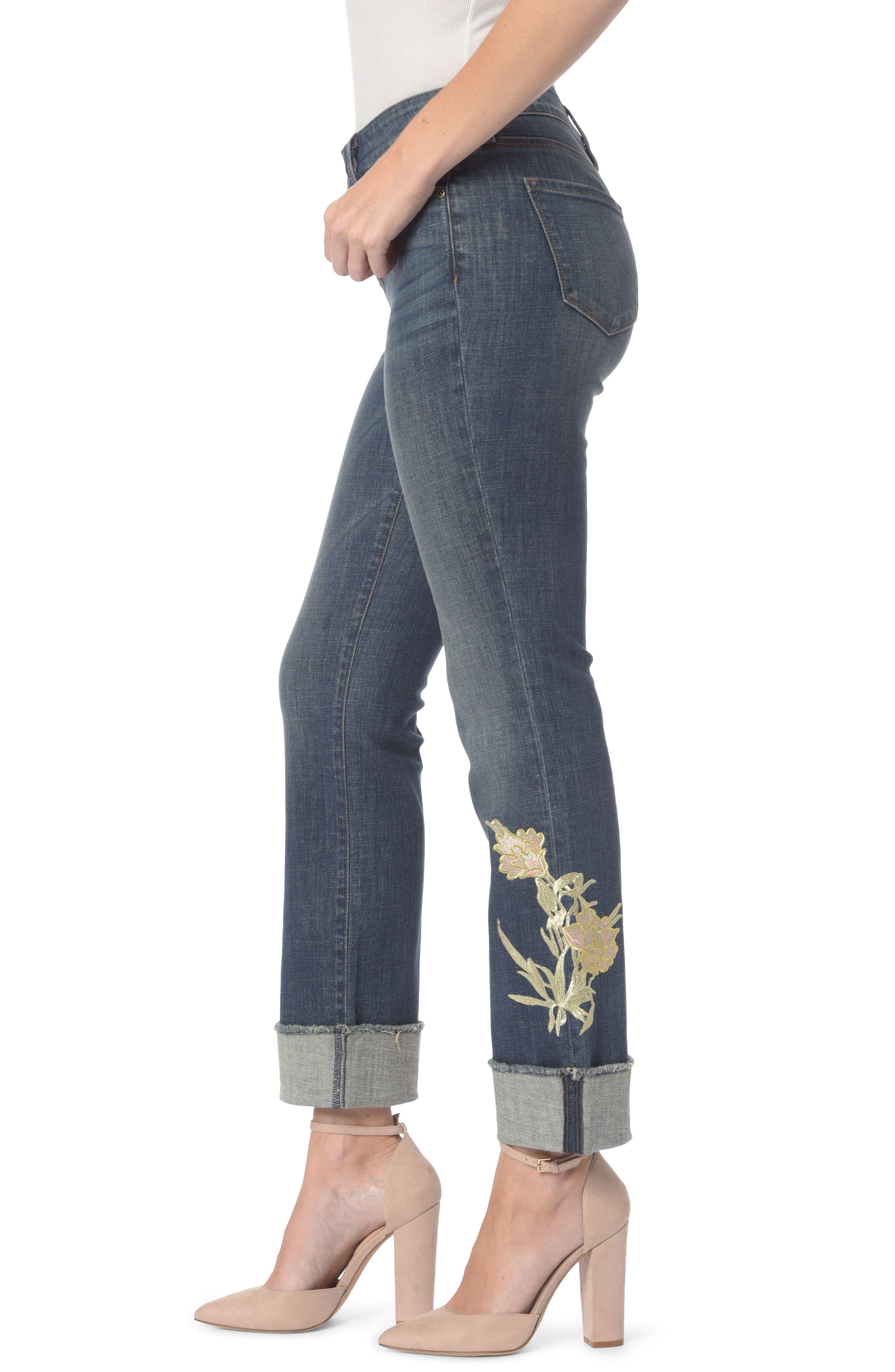 Marilyn Appliqué Stretch Straight Leg Ankle Jeans,                             Alternate thumbnail 3, color,                             Desert Gold