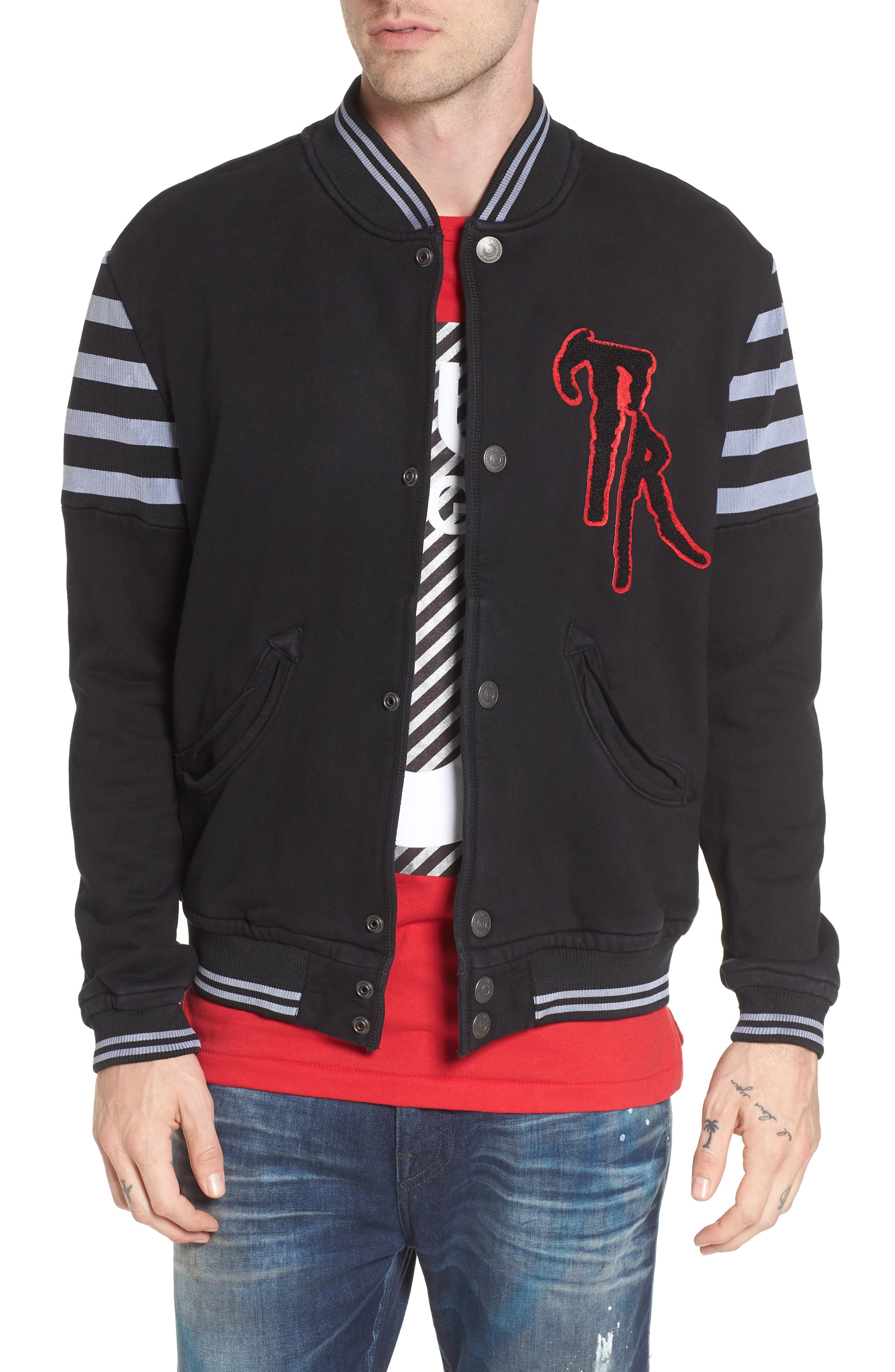 True Religion Brand Jeans Collegiate Knit Inset Jacket
