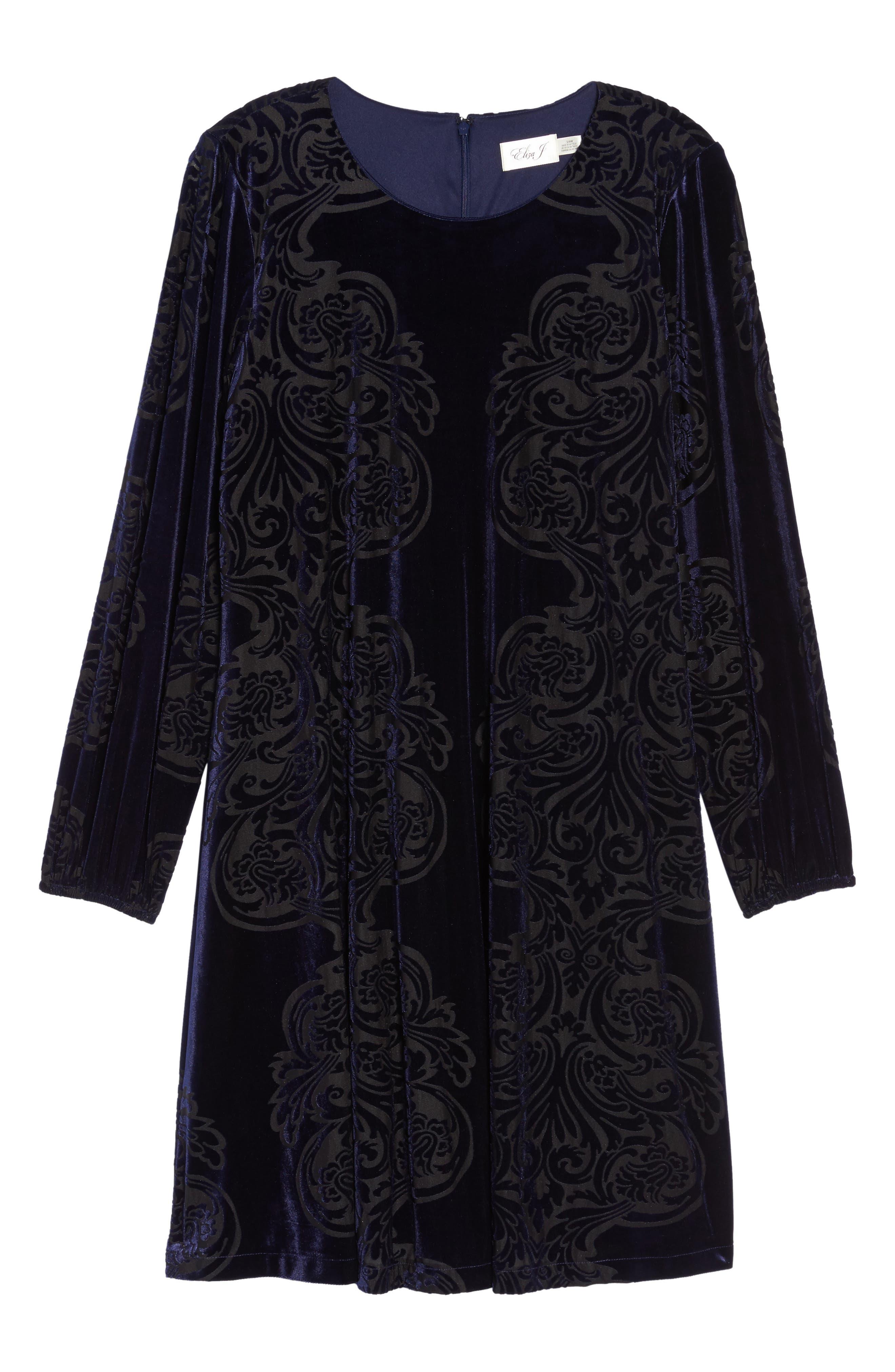 Alternate Image 6  - Eliza J Burnout Velvet Shift Dress (Plus Szie)