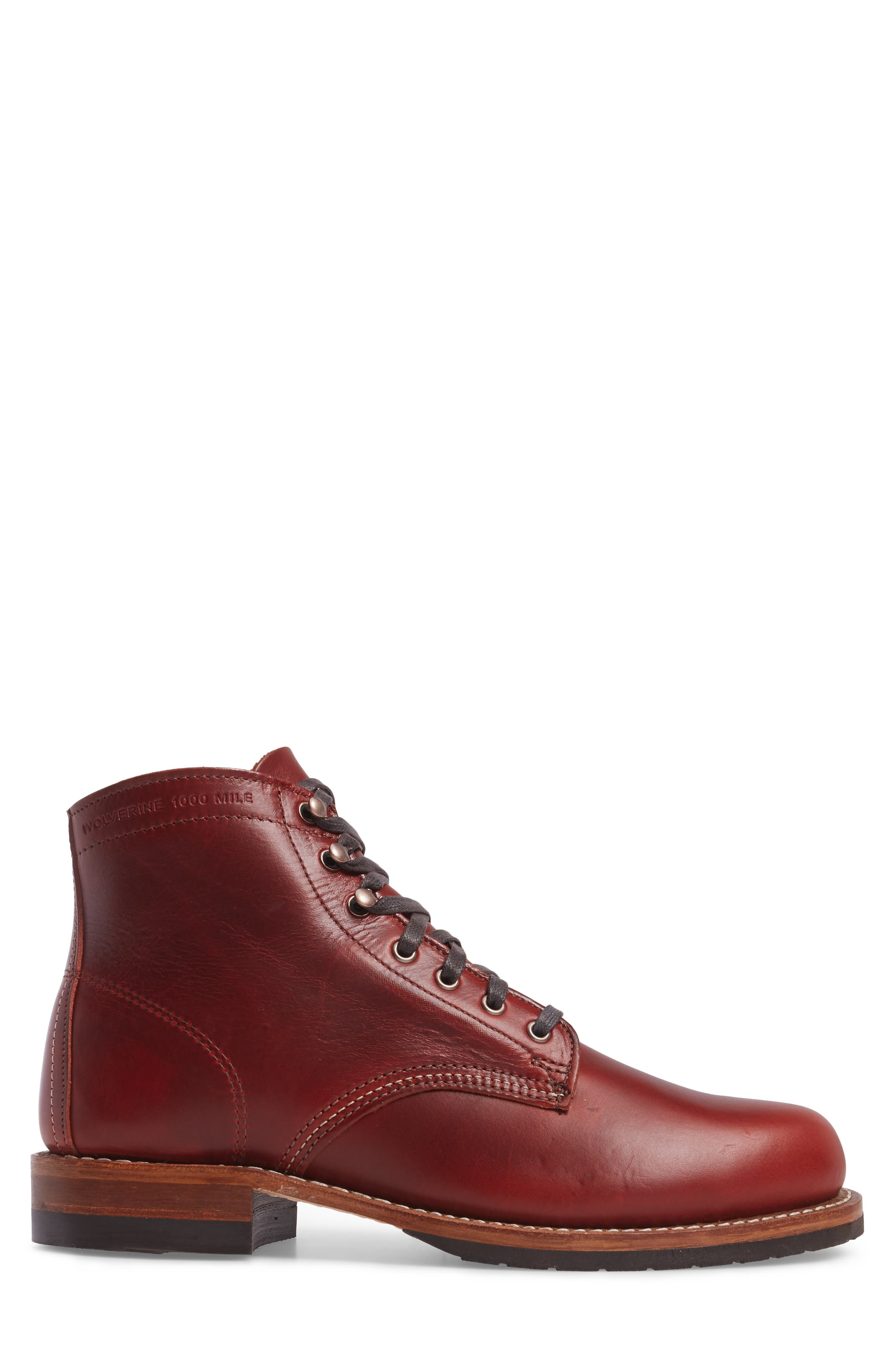 Evans Plain Toe Boot,                             Alternate thumbnail 3, color,                             Red Leather