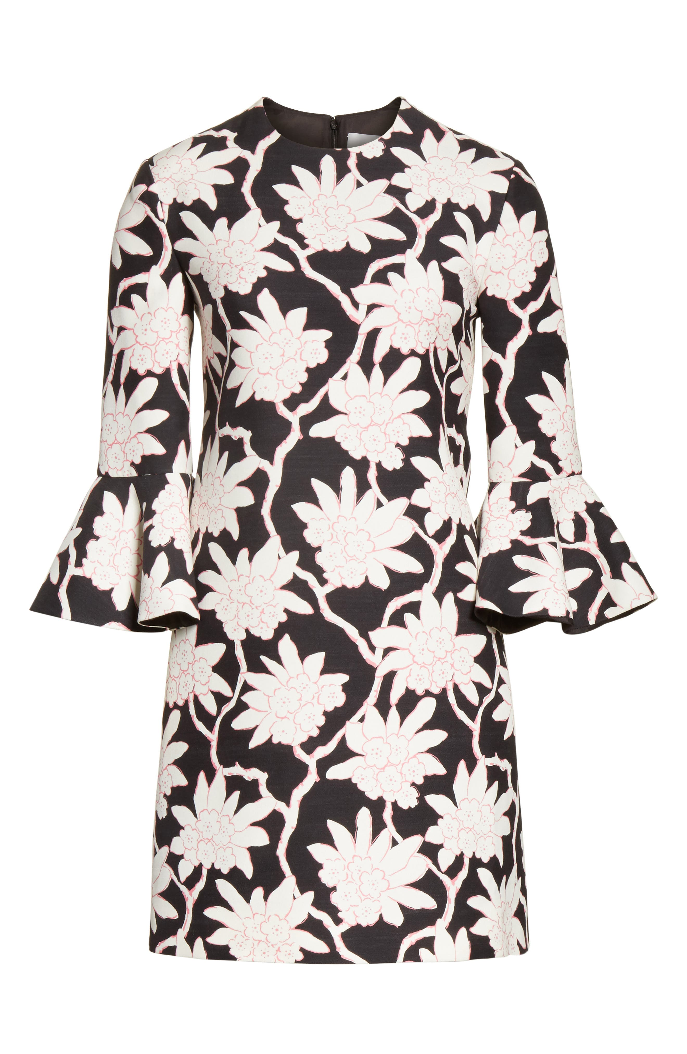 Rhododendron Print Wool & Silk Dress,                             Alternate thumbnail 6, color,                             Black