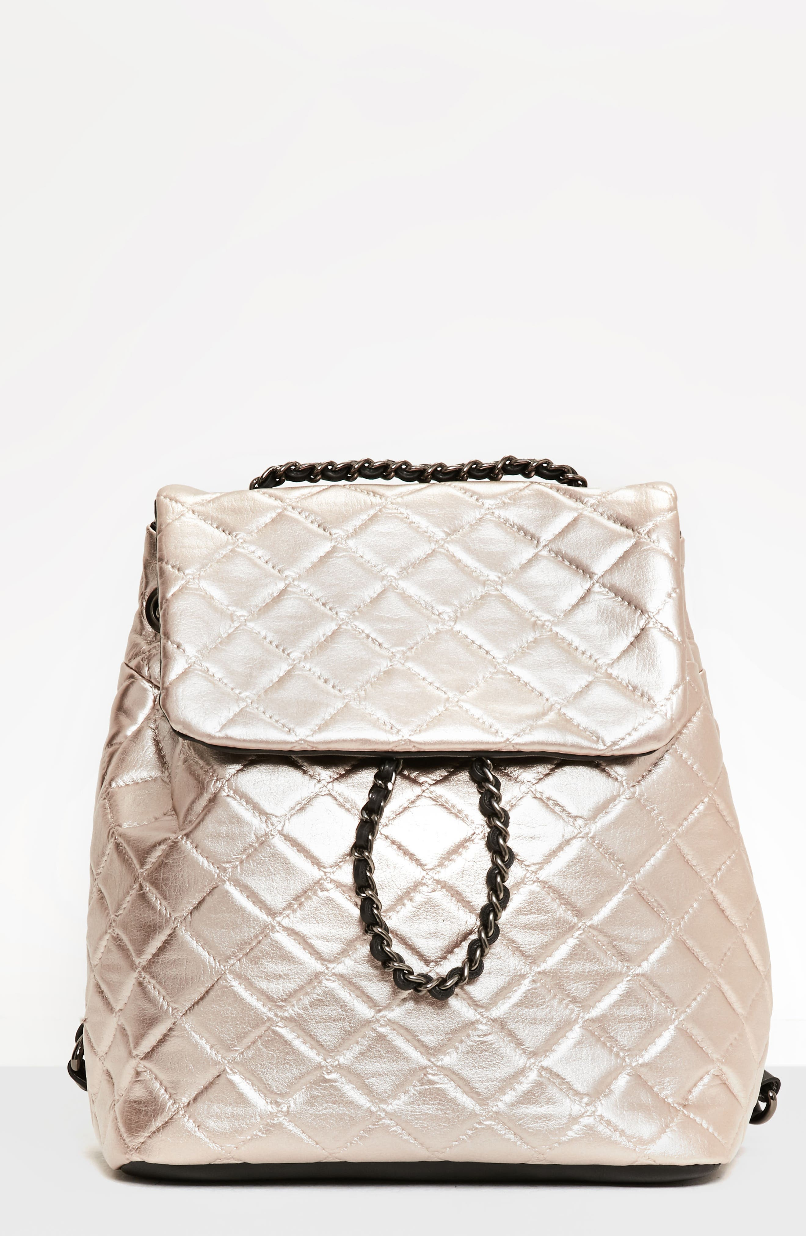 Missguided Quilted Faux Leather Backpack