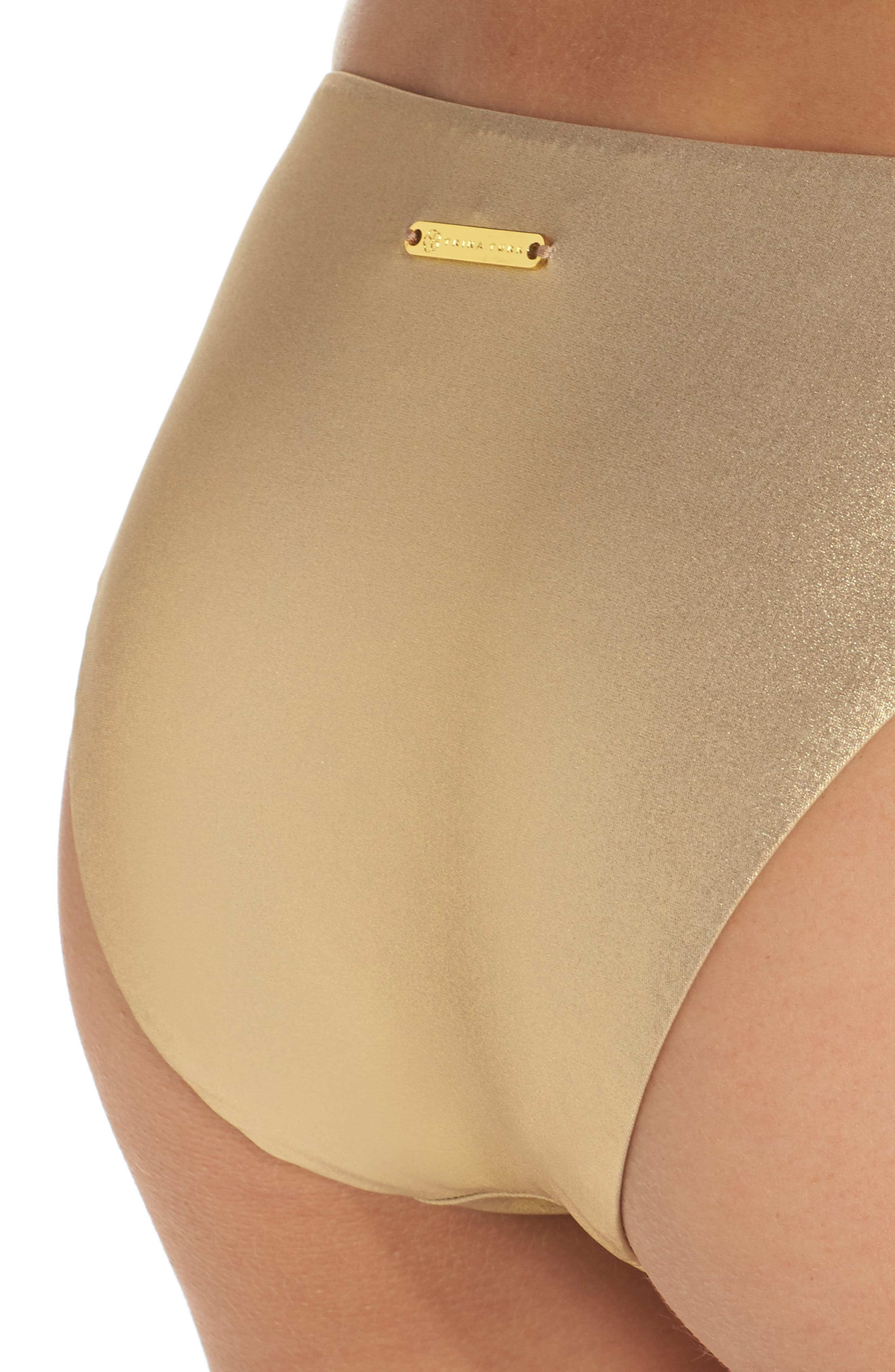 Golden Medallion Bikini Bottoms,                             Alternate thumbnail 4, color,                             Gold