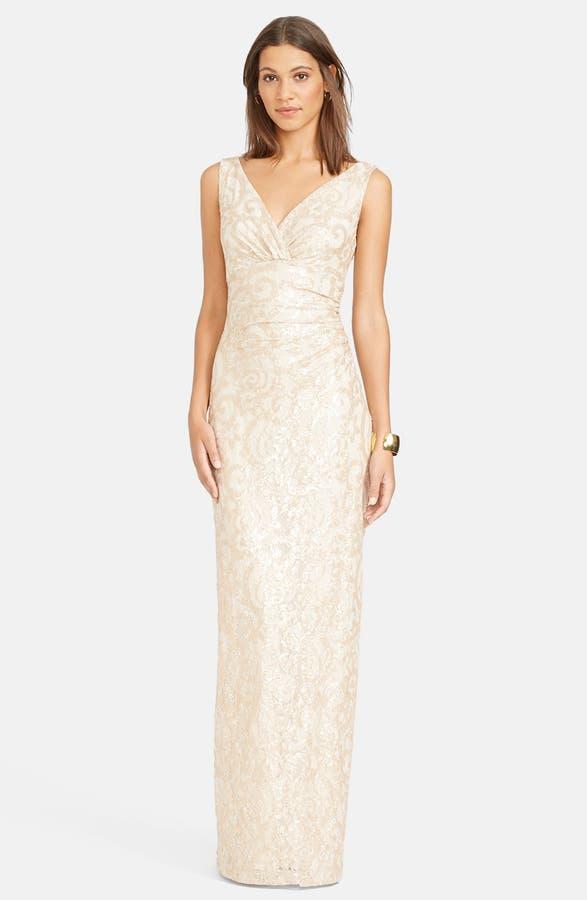 Lauren Ralph Lauren Sequin Lace V-Neck Column Gown | Nordstrom