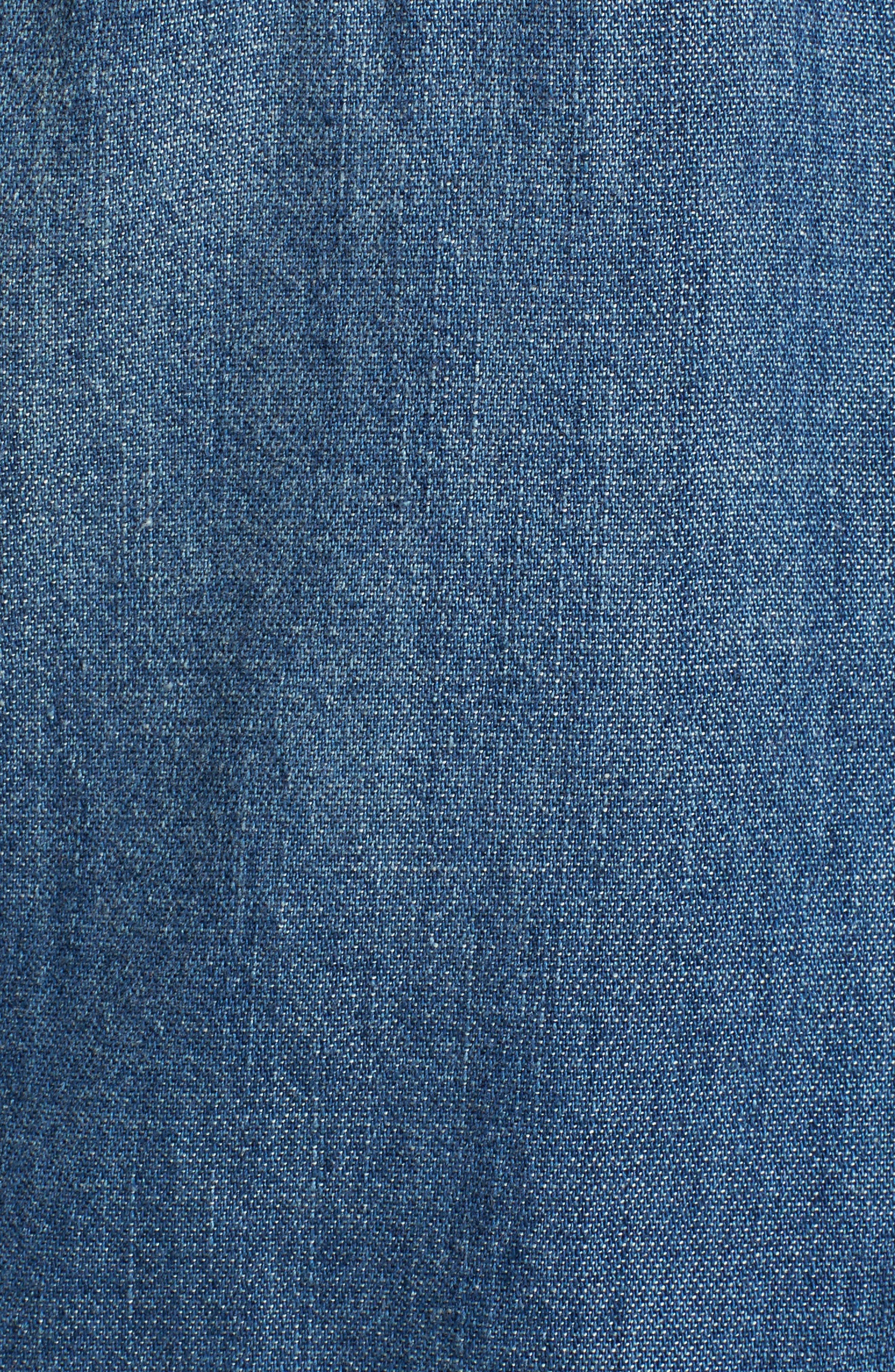 Deanna Studded Denim Shirt,                             Alternate thumbnail 5, color,                             Fountain