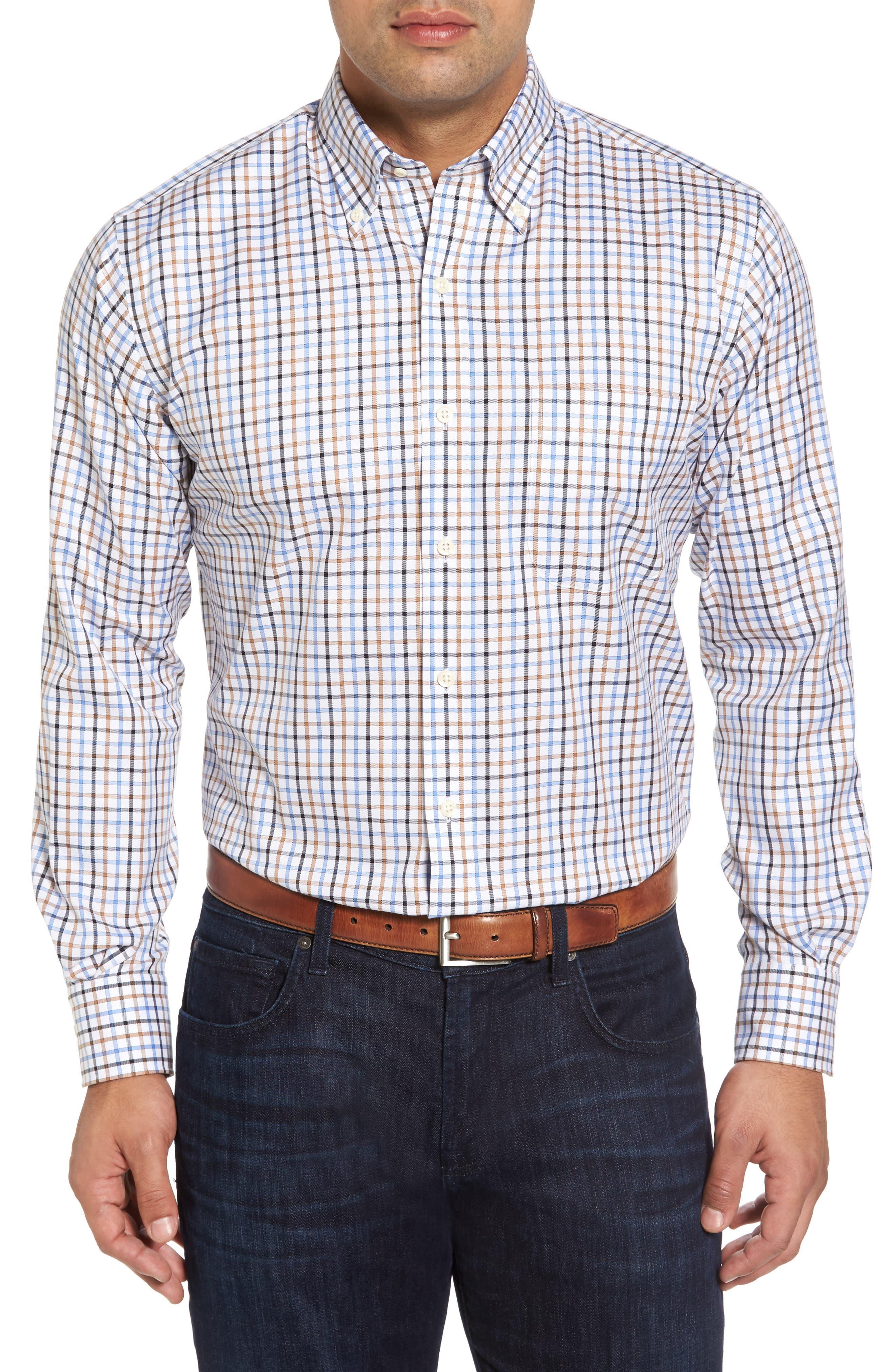 Peter Millar Nanoluxe Pinwheel Regular Fit Check Sport Shirt