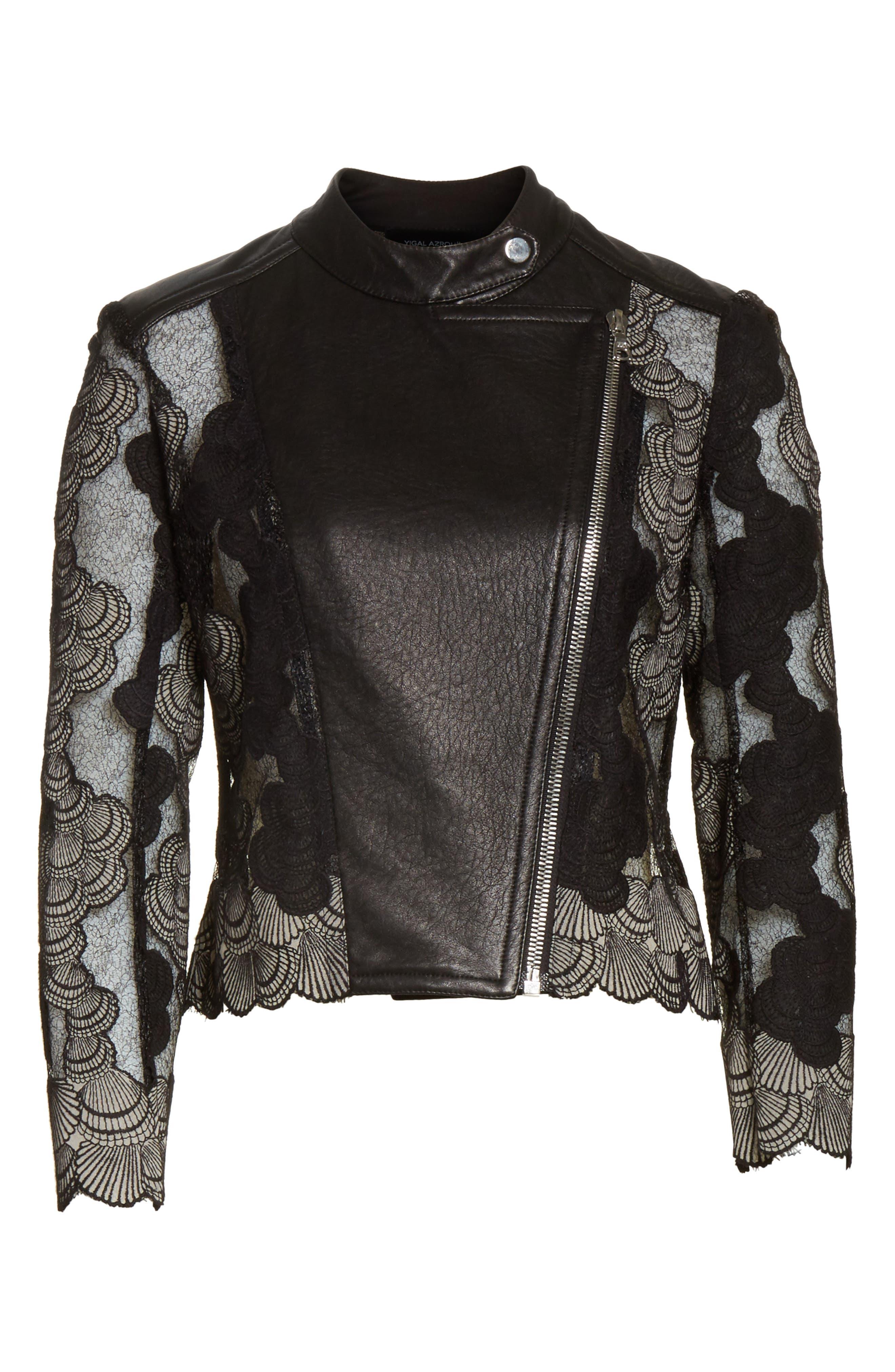 Seashell Lace Moto Jacket,                             Alternate thumbnail 7, color,                             Jet/ Optic
