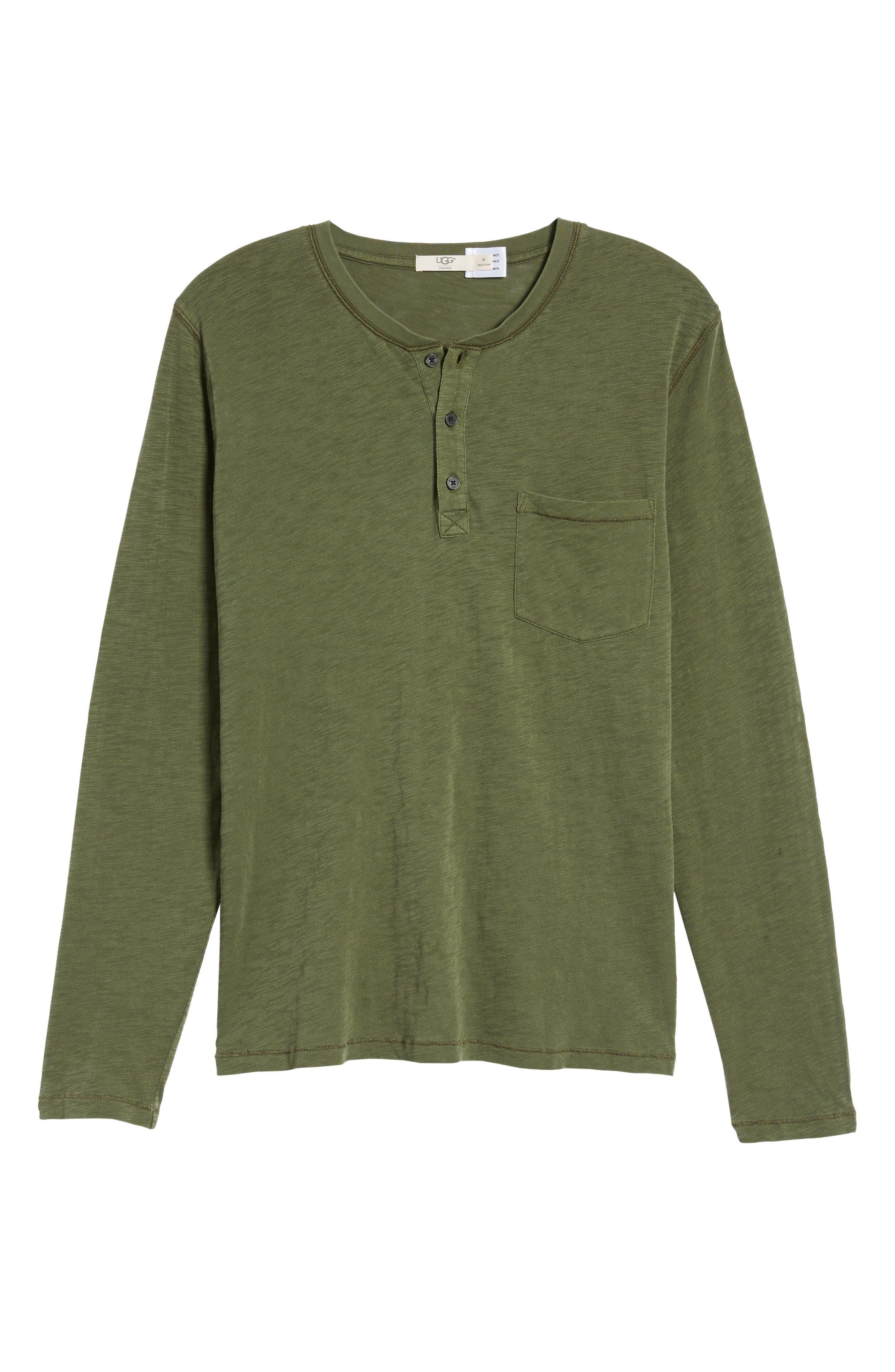 Long Sleeve Henley T-Shirt,                             Alternate thumbnail 6, color,                             Olive