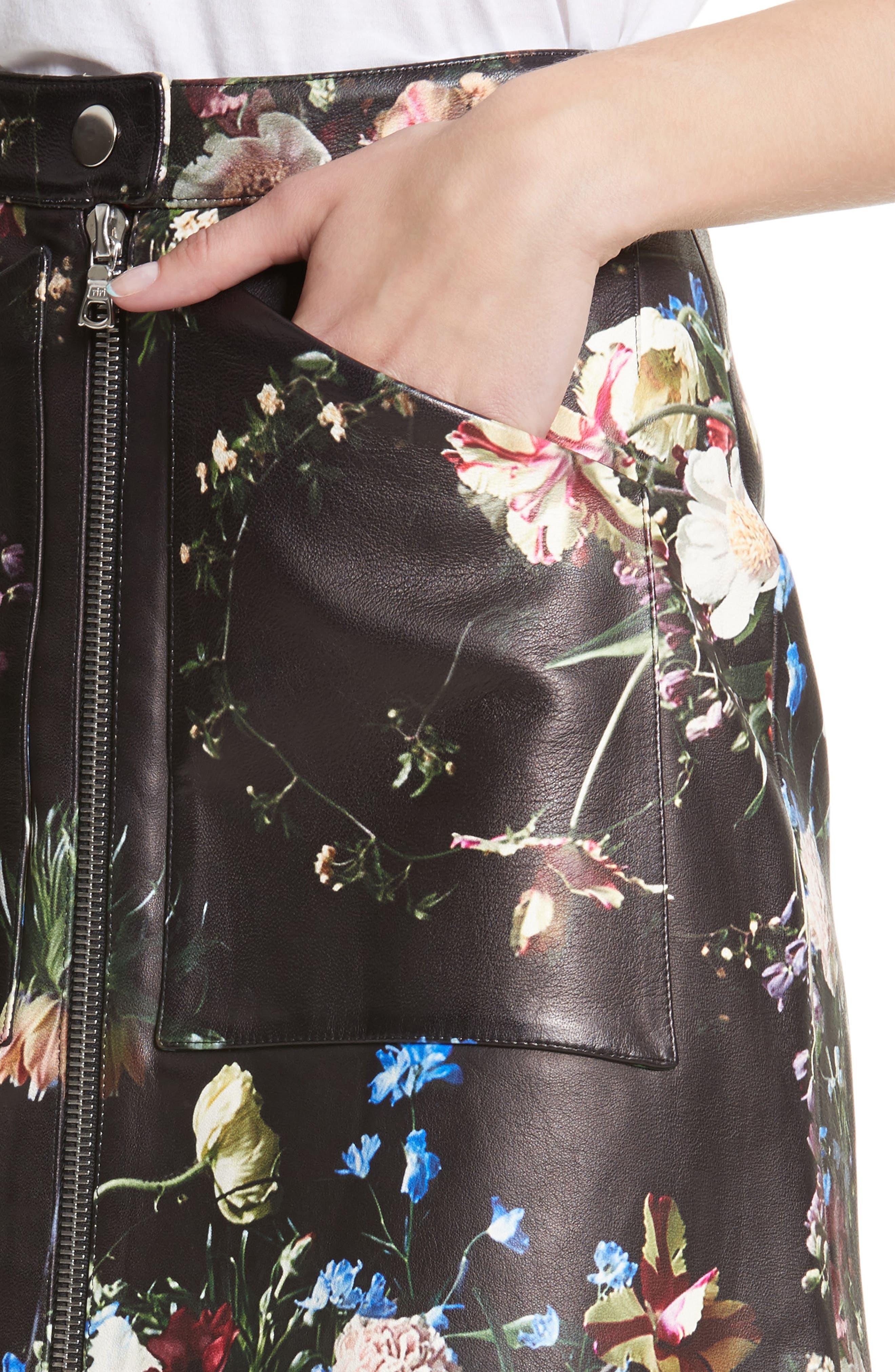 Floral Print Leather Miniskirt,                             Alternate thumbnail 5, color,                             Black