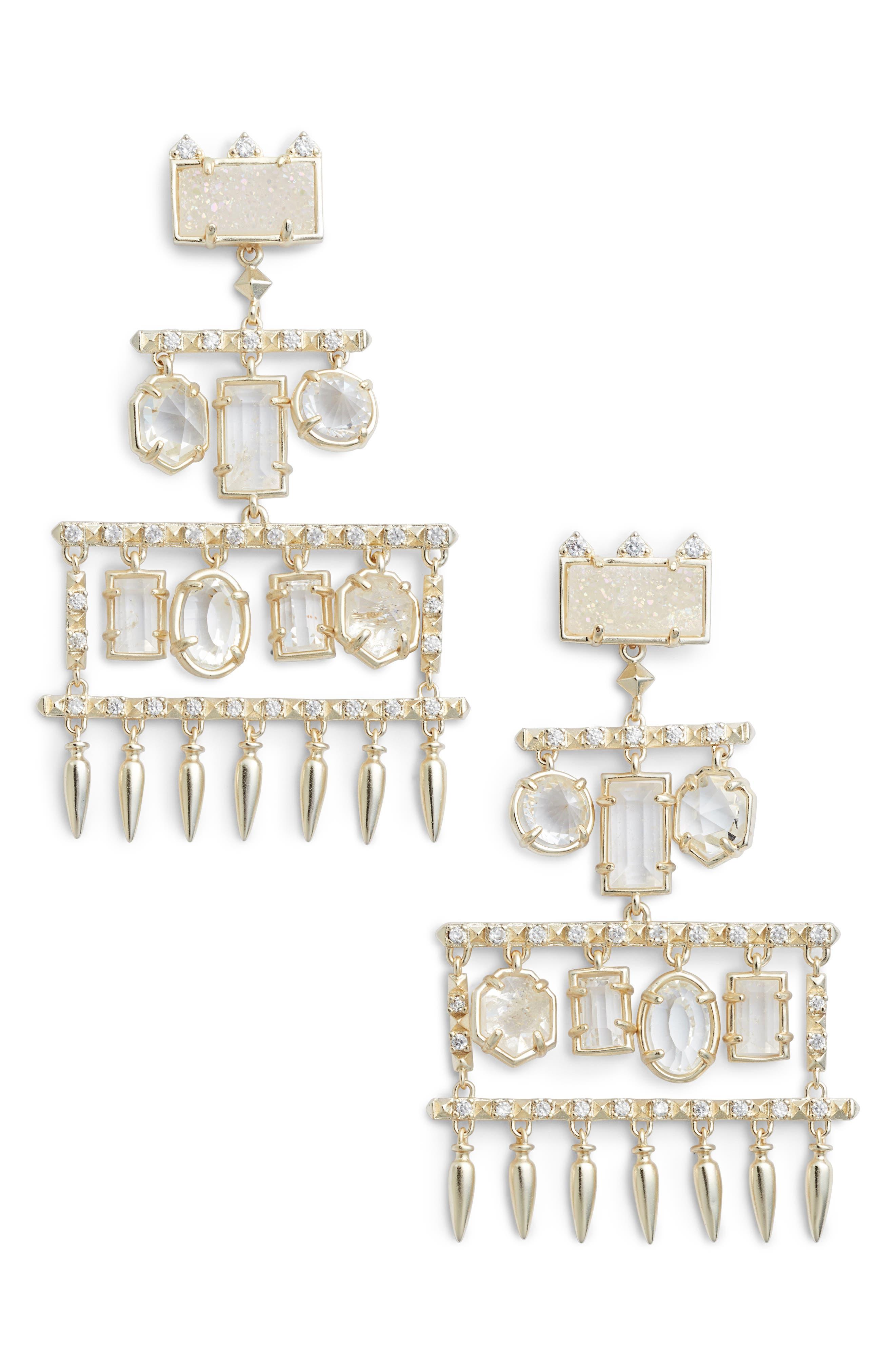 Emmylou Chandelier Earrings,                         Main,                         color, Rock Crystal/ Gold