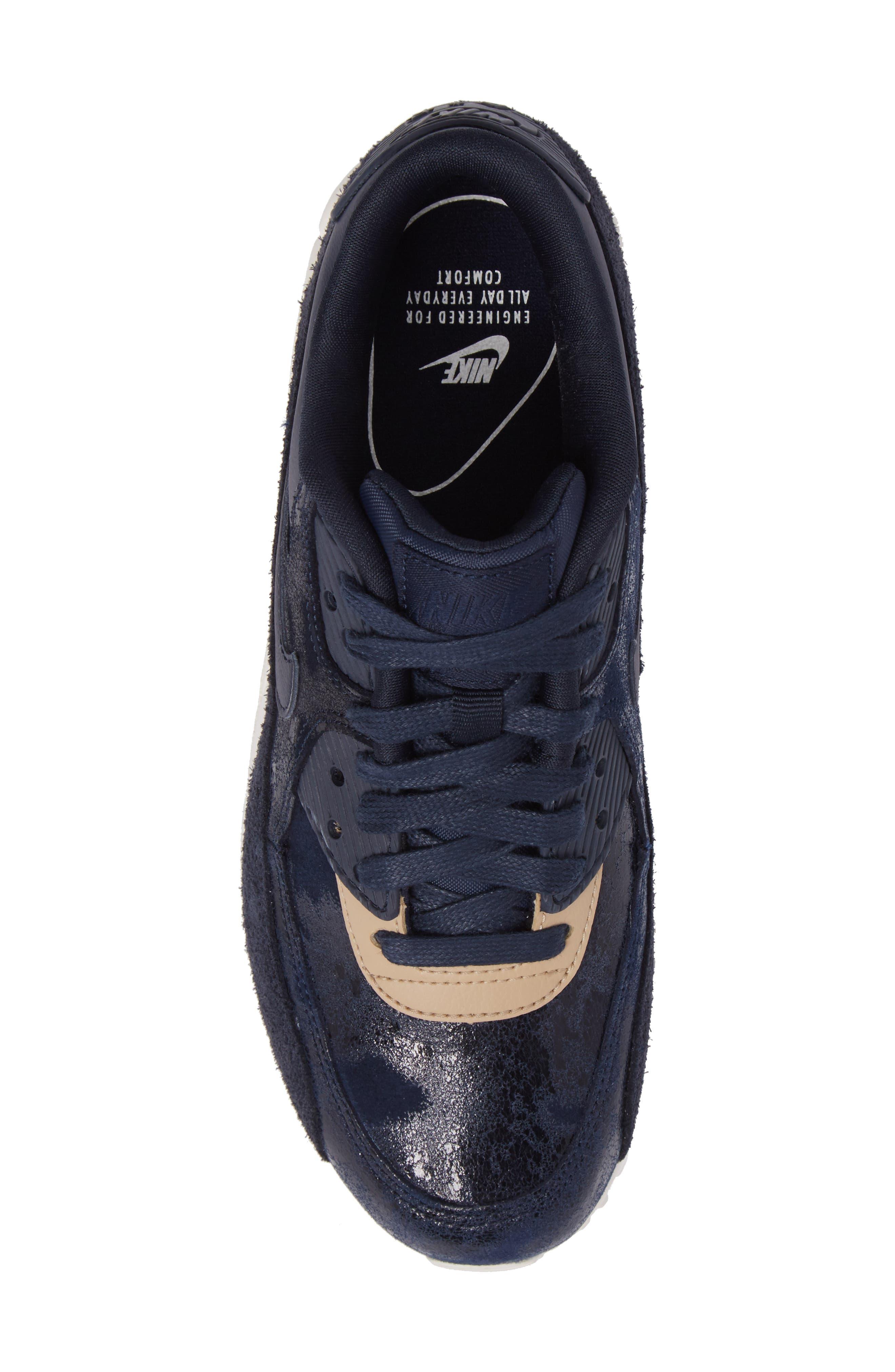 Air Max 90 Premium Sneaker,                             Alternate thumbnail 5, color,                             Dark Obsidian/ Sail/ Mushroom