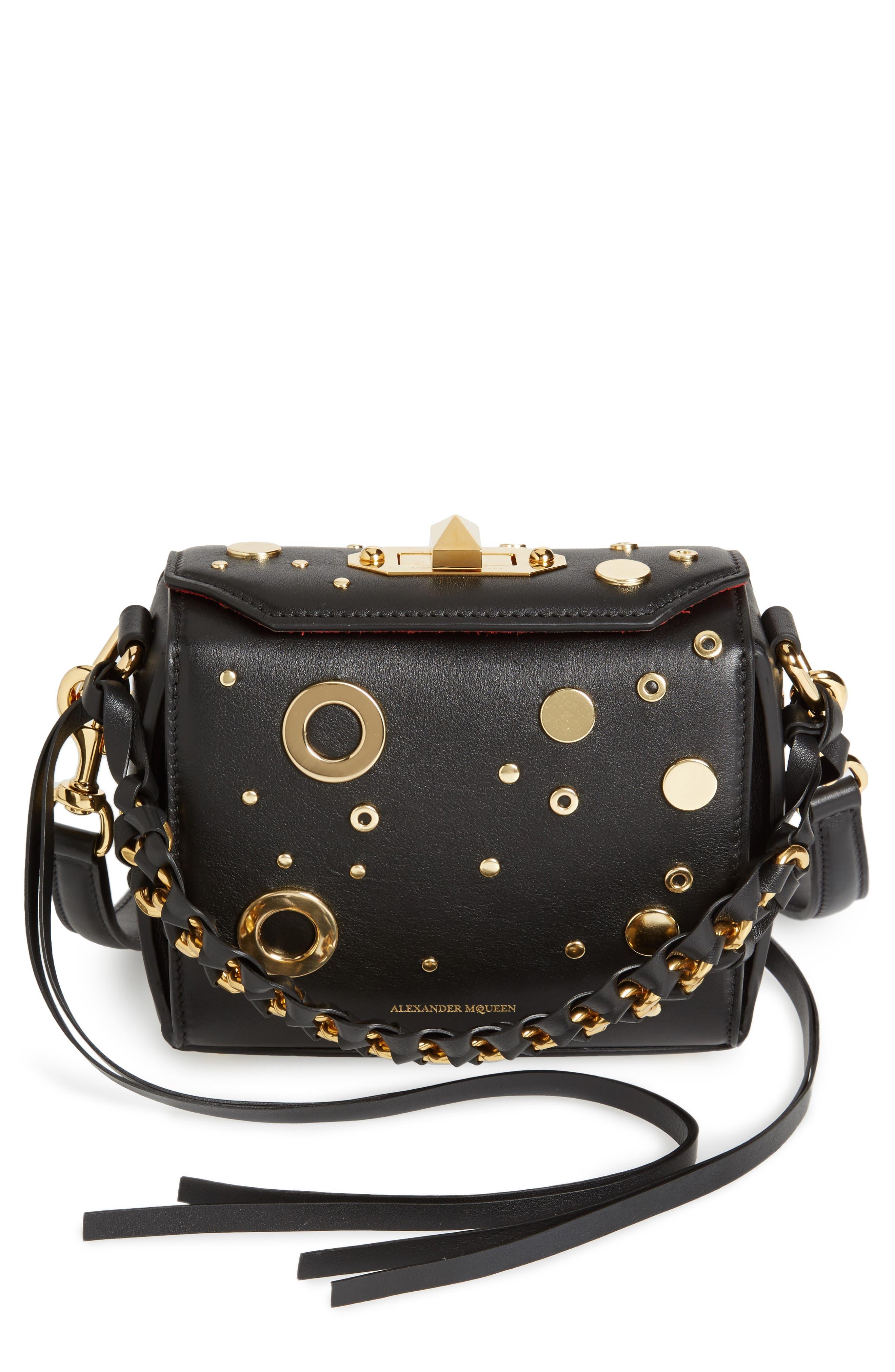 Grommet & Stud Calfskin Leather Box Bag,                             Main thumbnail 1, color,                             Black