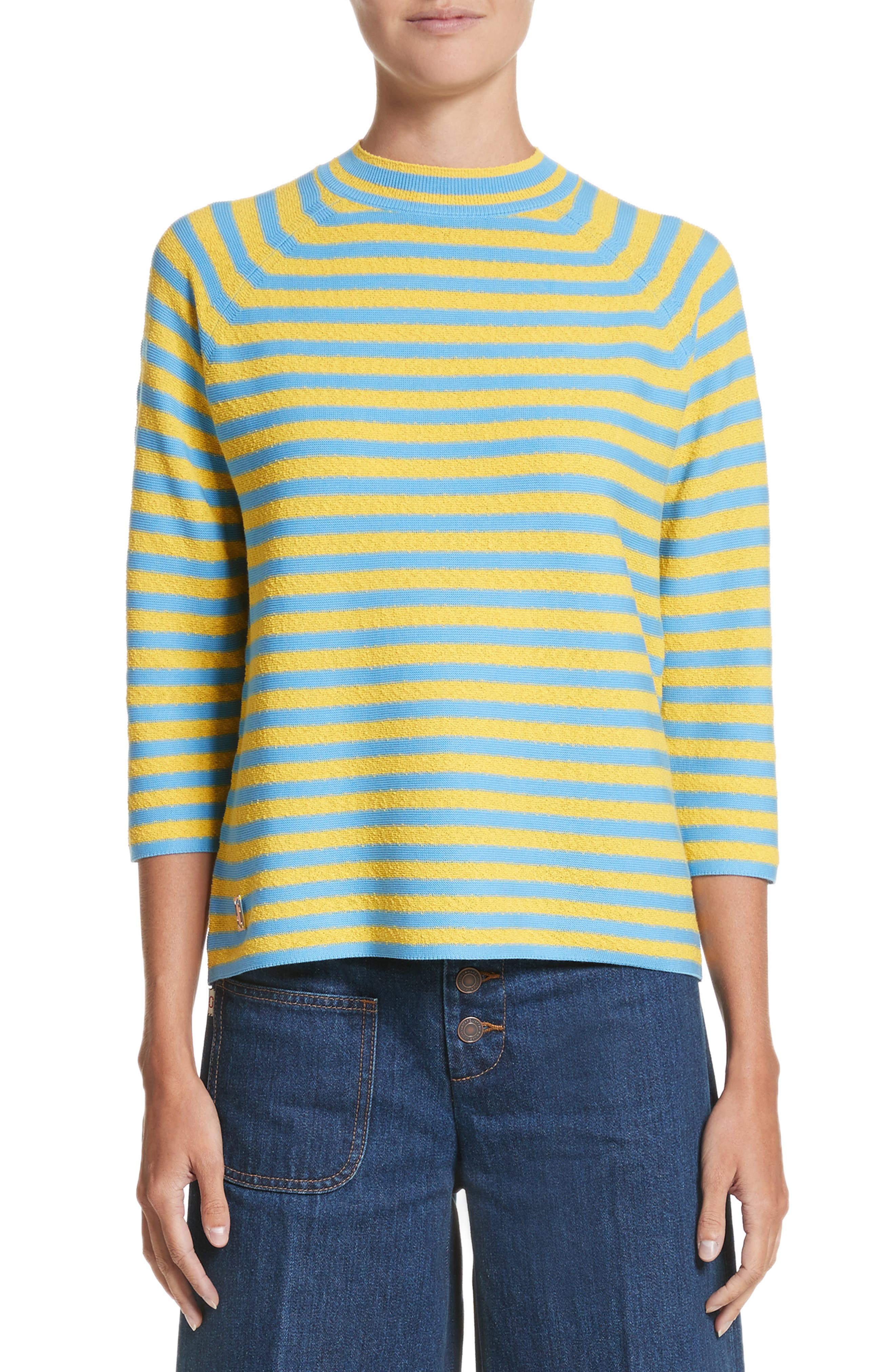 Stripe Mock Neck Sweater,                         Main,                         color, Yellow/ Turquoise