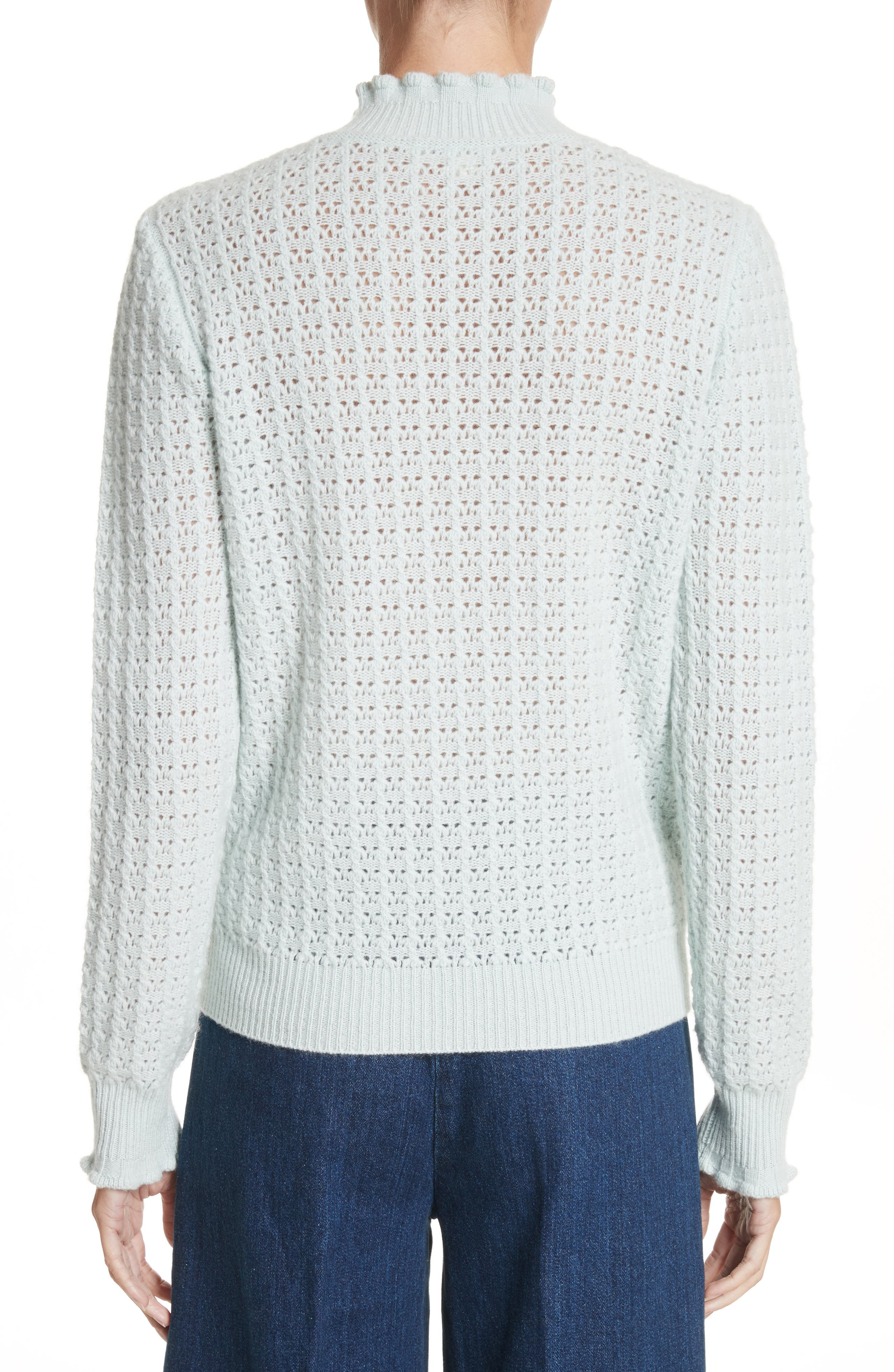 Ruffle Mock Neck Cashmere Sweater,                             Alternate thumbnail 2, color,                             Pale Green