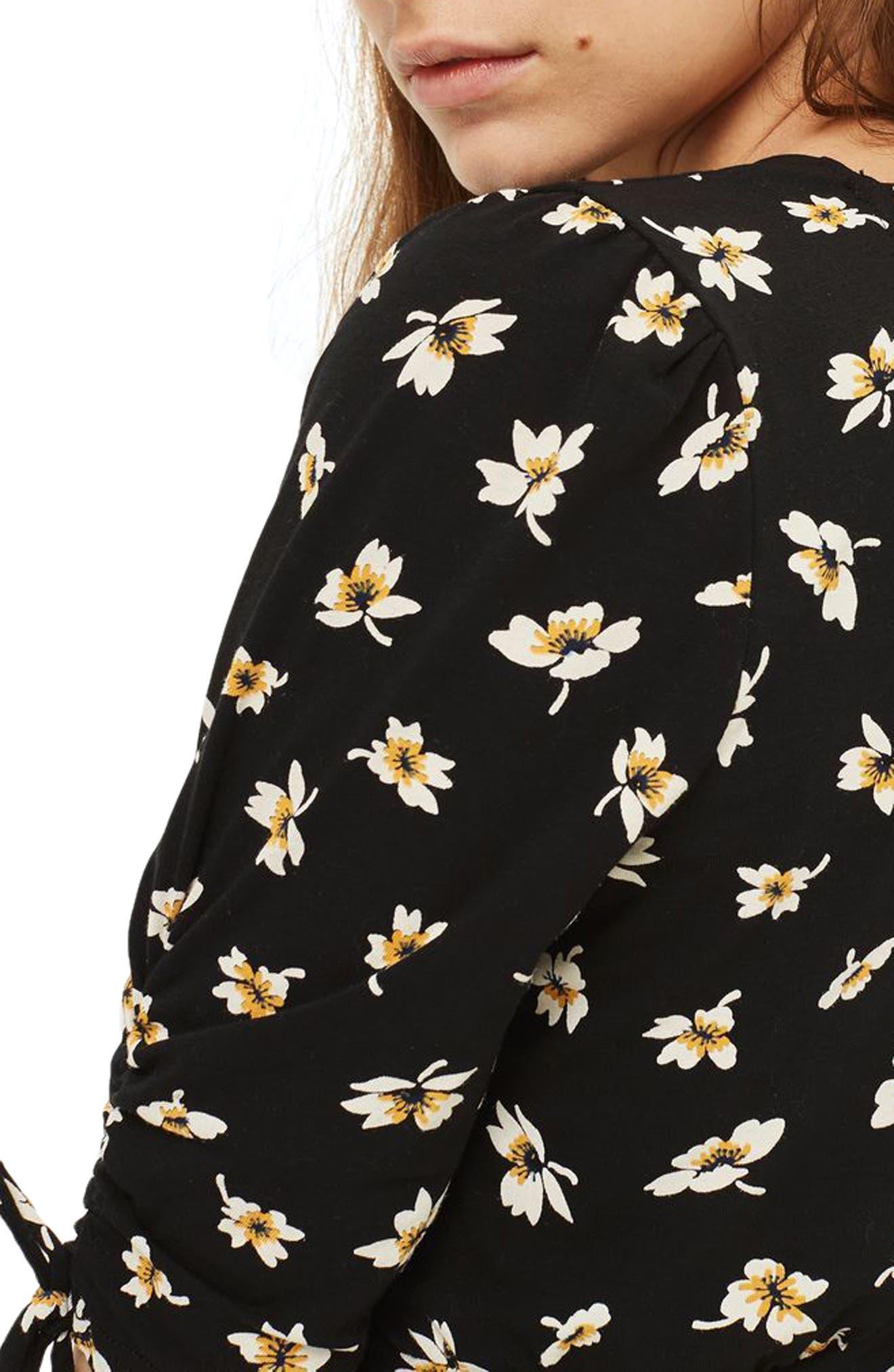 Alternate Image 3  - Topshop Tie Sleeve Floral Romper