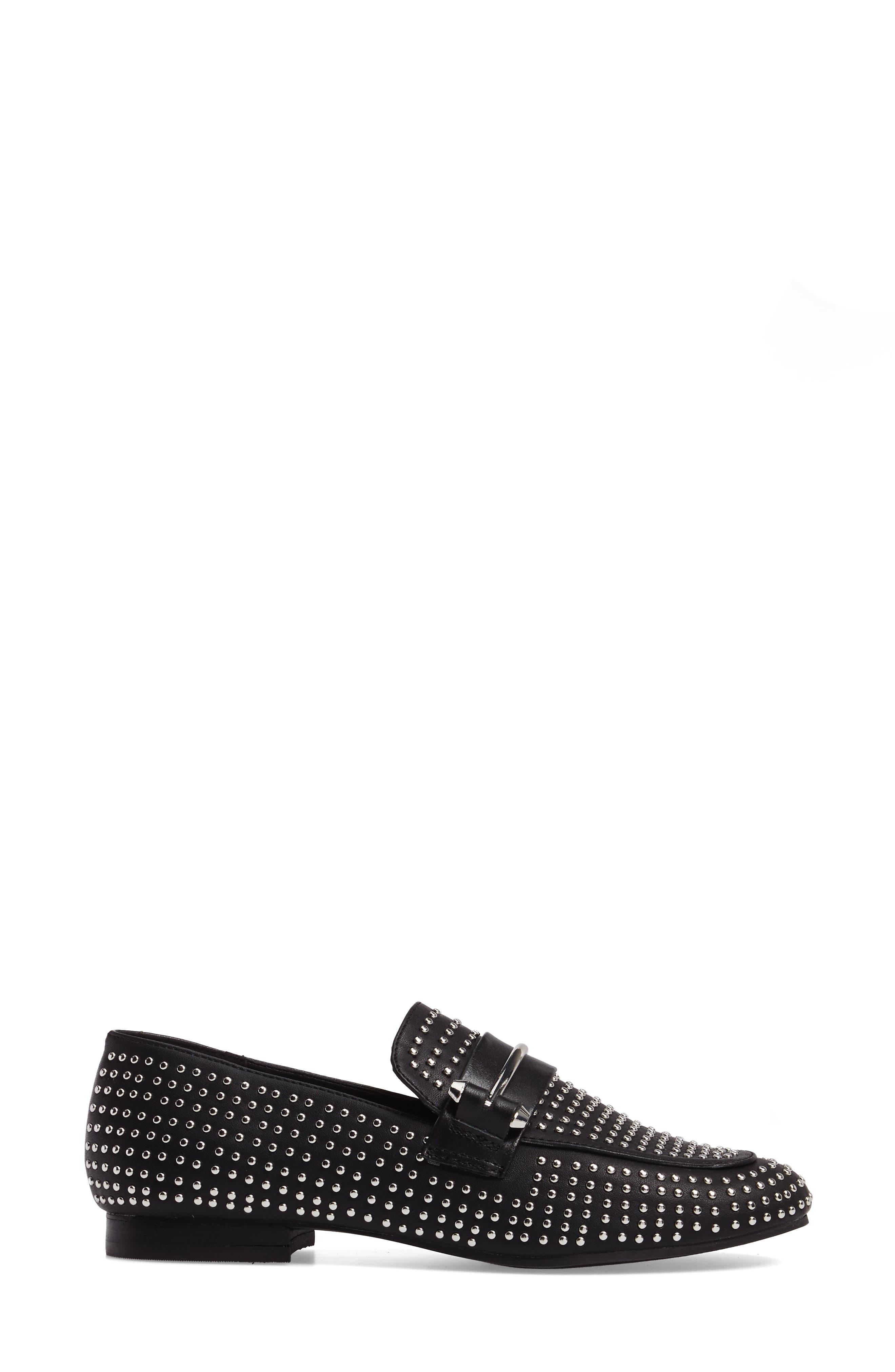 Kast Studded Loafer,                             Alternate thumbnail 3, color,                             Black Faux Leather