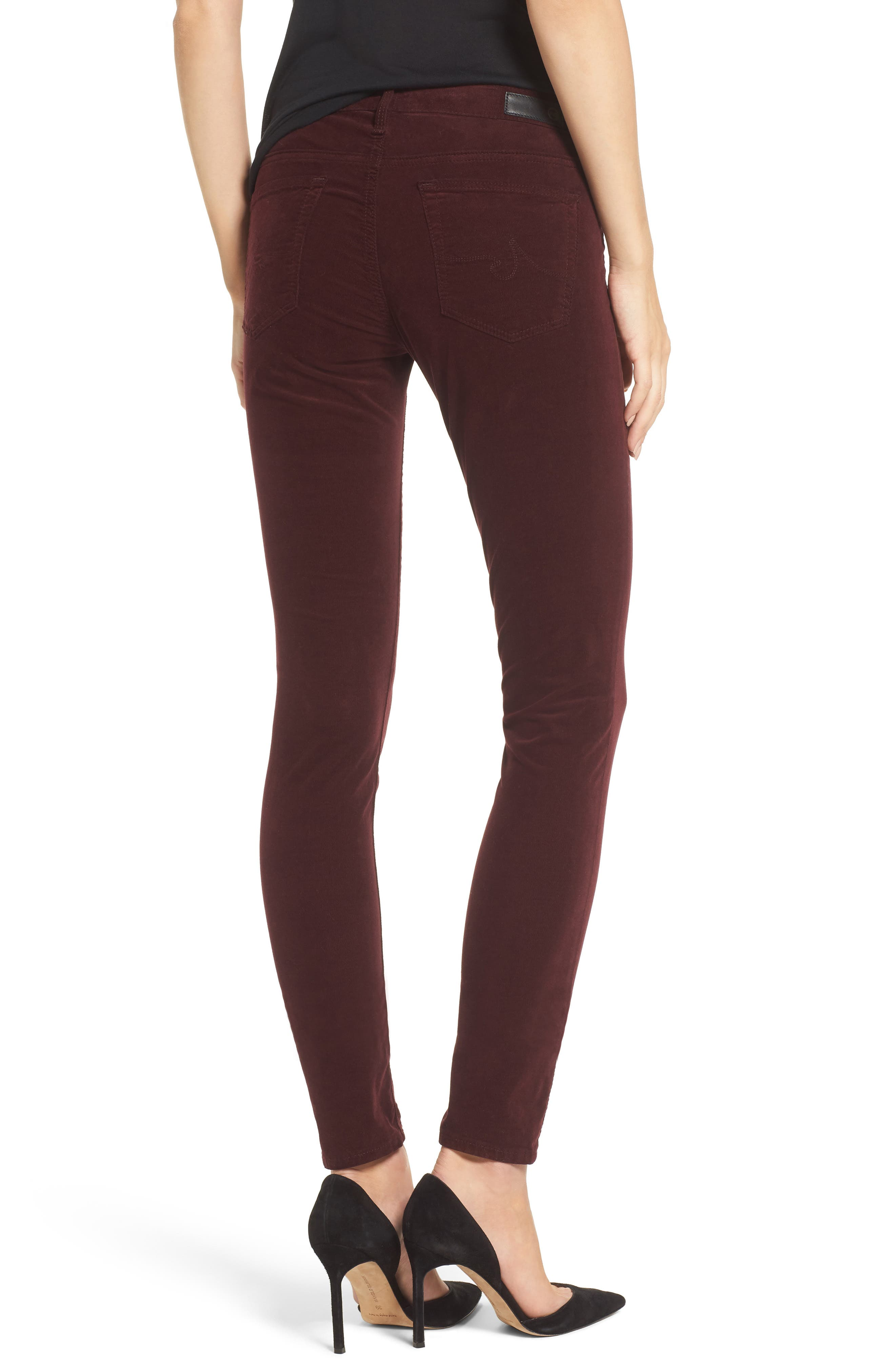The Legging Super Skinny Corduroy Pants,                             Alternate thumbnail 2, color,                             Deep Currant