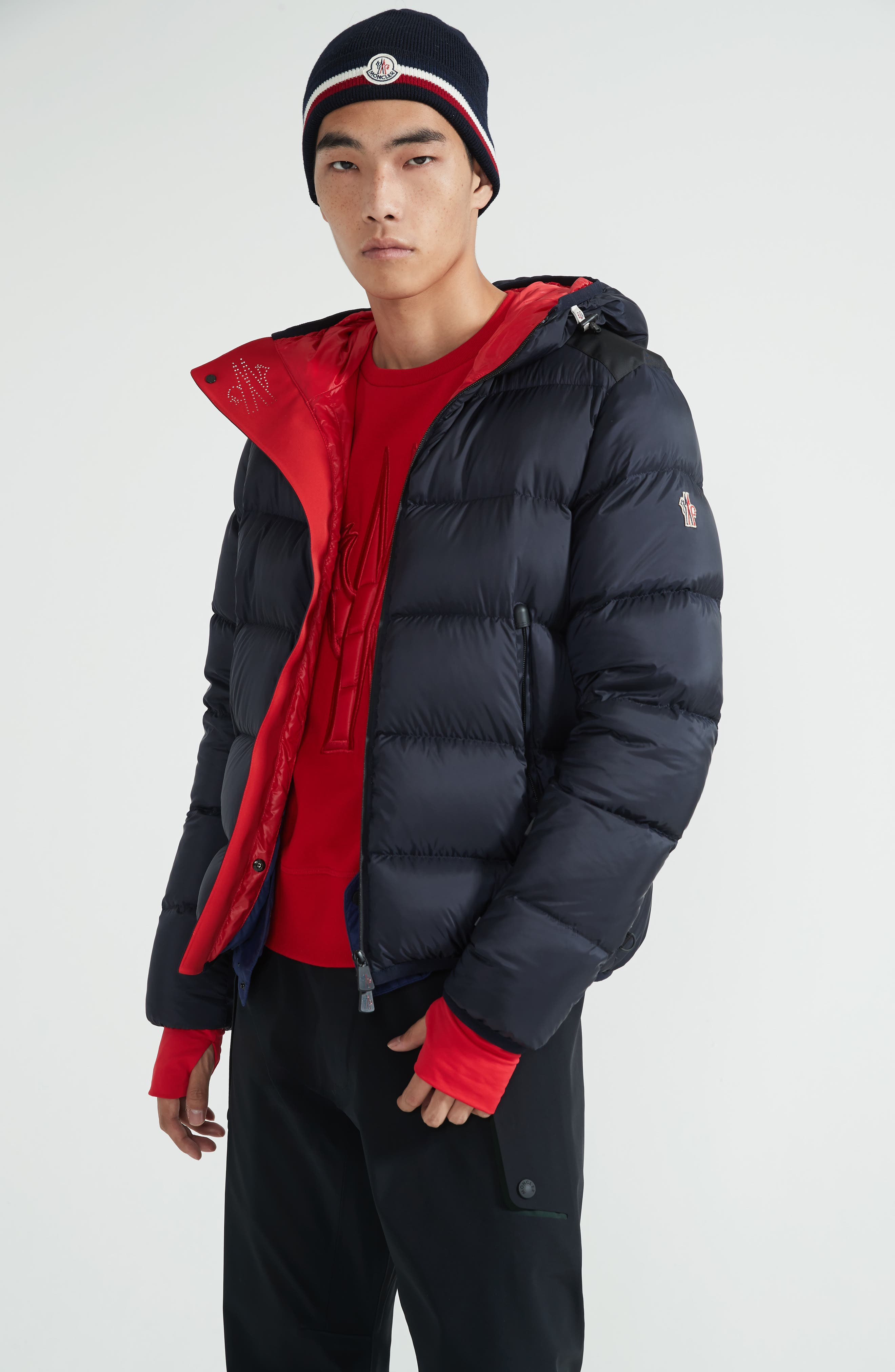 Grenoble Hintertux Hooded Down Jacket,                             Alternate thumbnail 7, color,                             Navy/ Red
