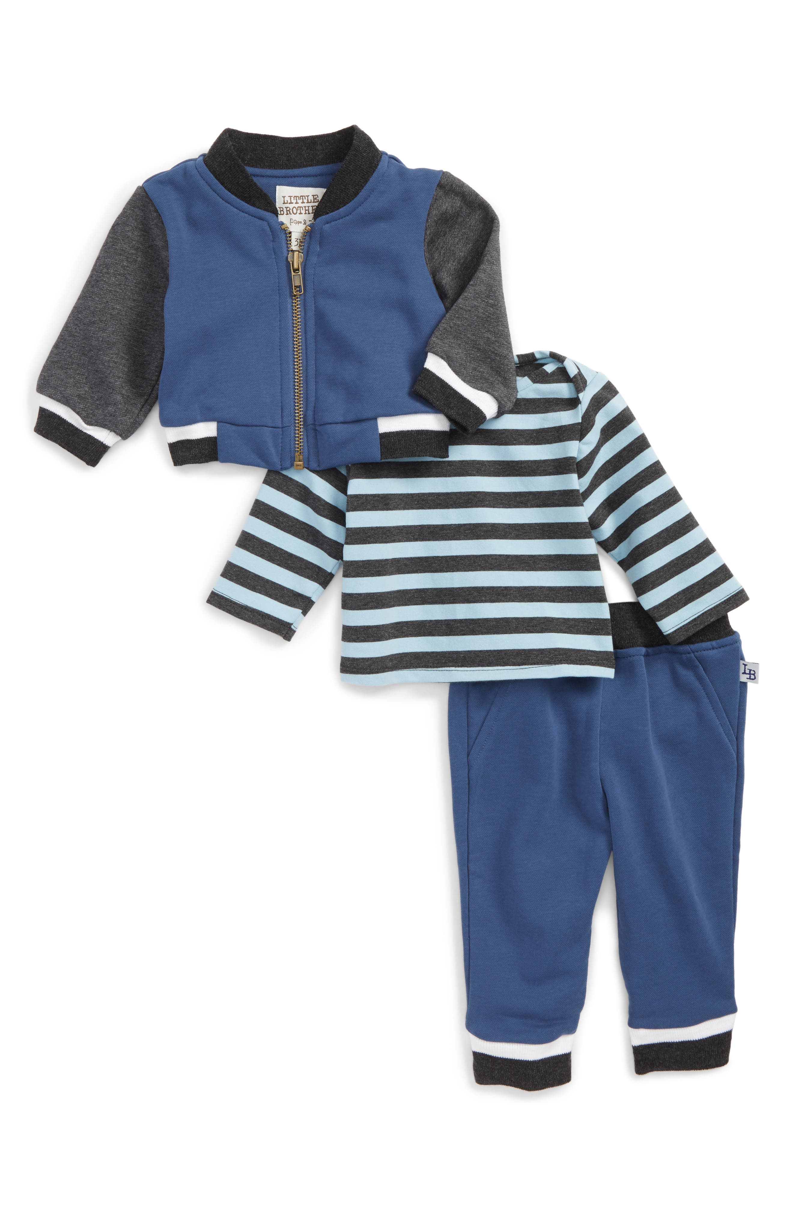 Little Brother by Pippa & Julie Hooded Jacket, Top & Sweatpants Set (Baby Boys)