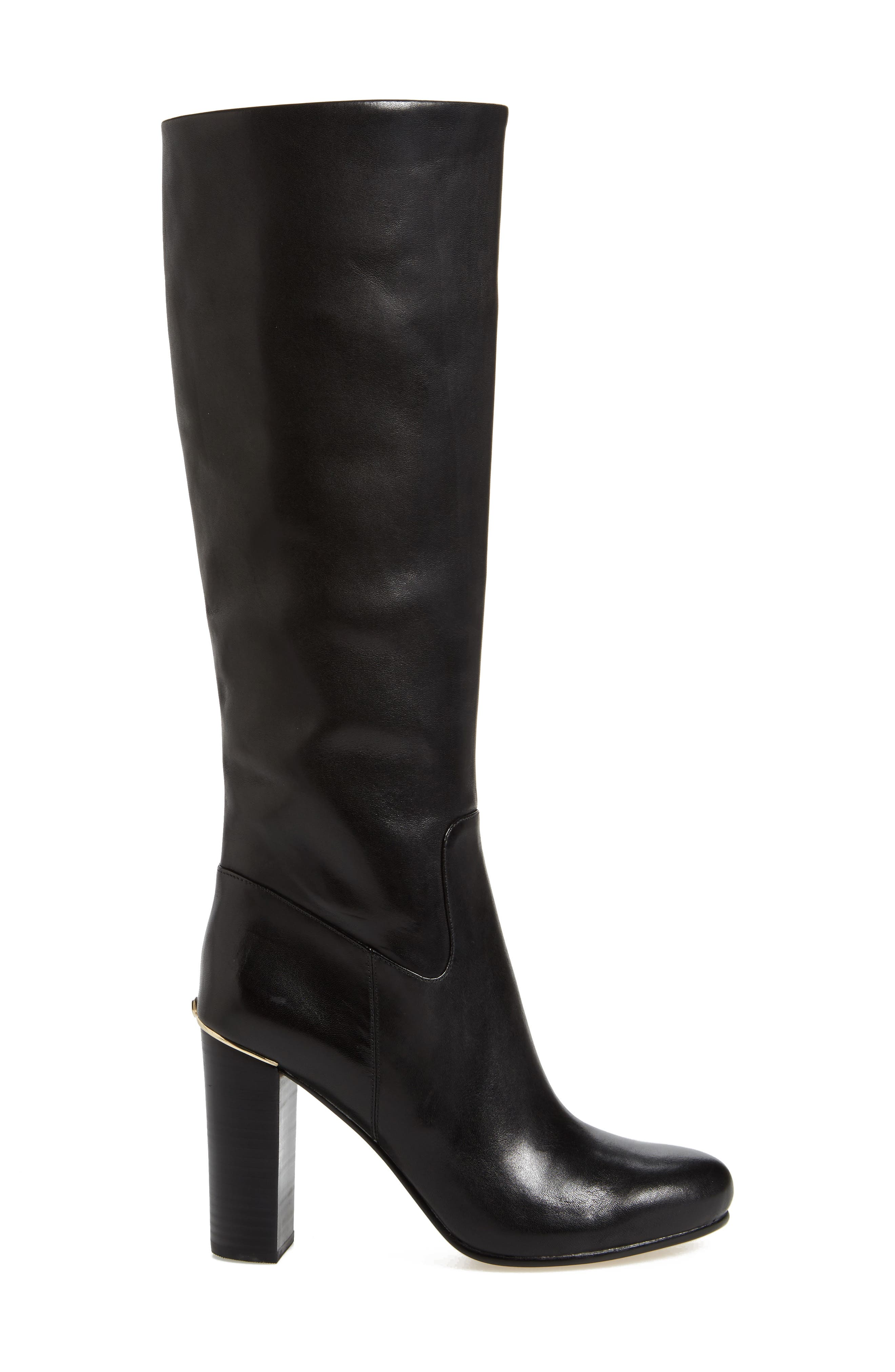Janice Knee High Boot,                             Alternate thumbnail 3, color,                             Black Calf Leather