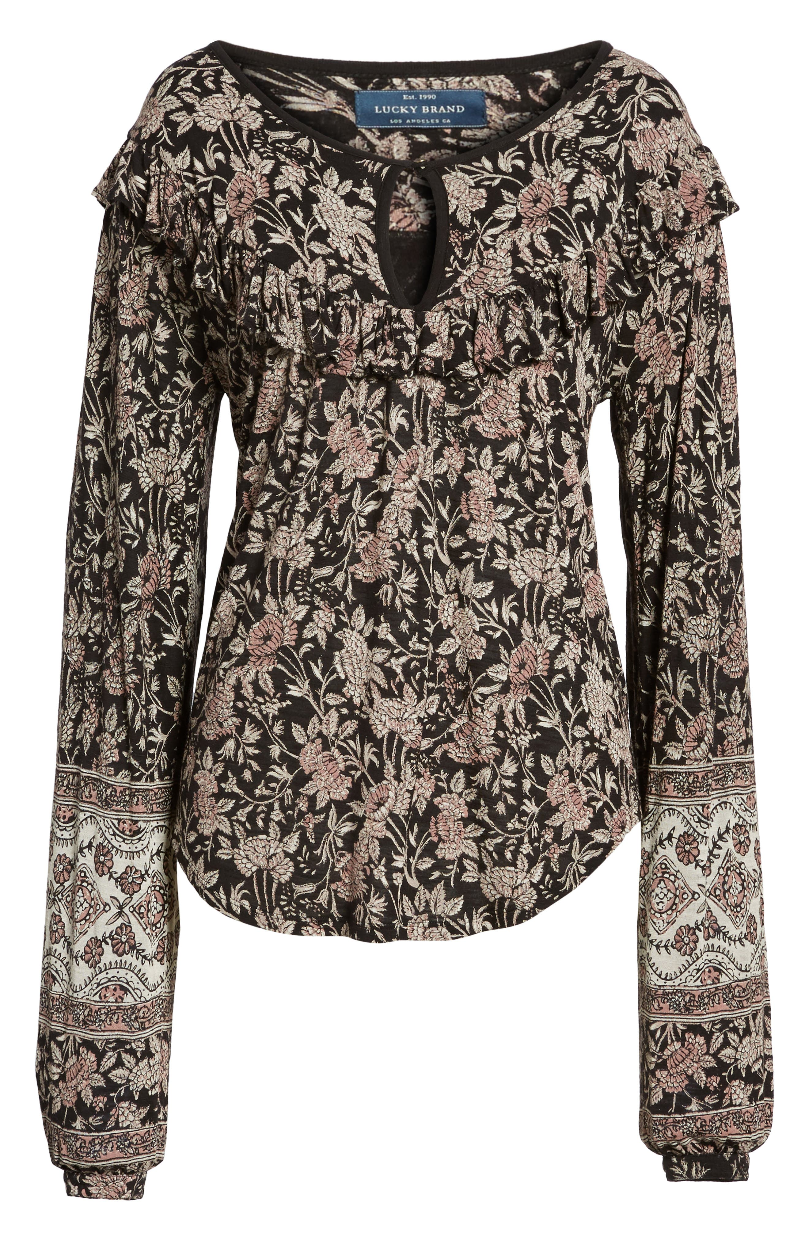 Alternate Image 6  - Lucky Brand Mixed Floral Ruffle Top