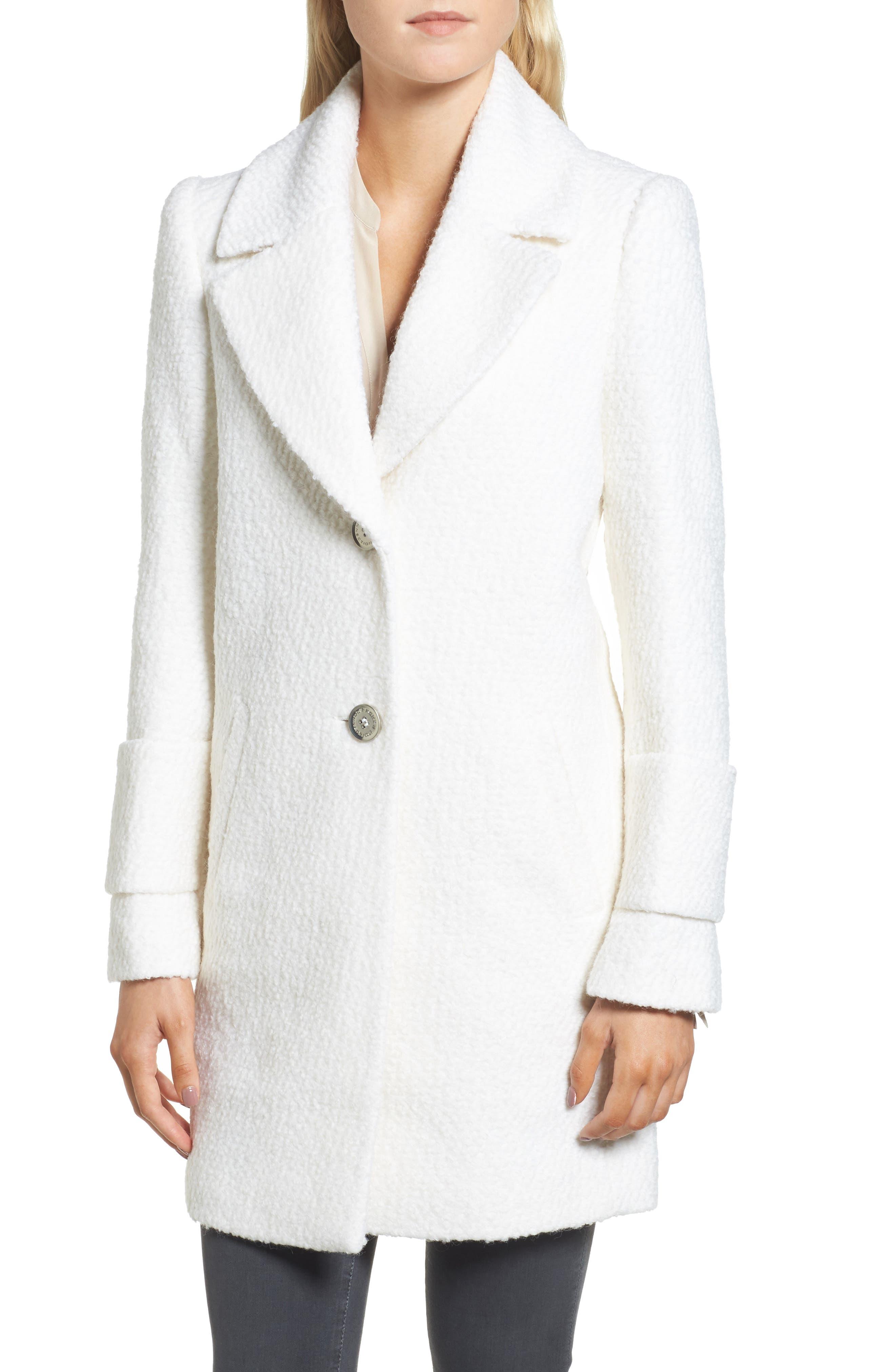 Notch Collar Bouclé Car Coat,                             Alternate thumbnail 4, color,                             Winter White