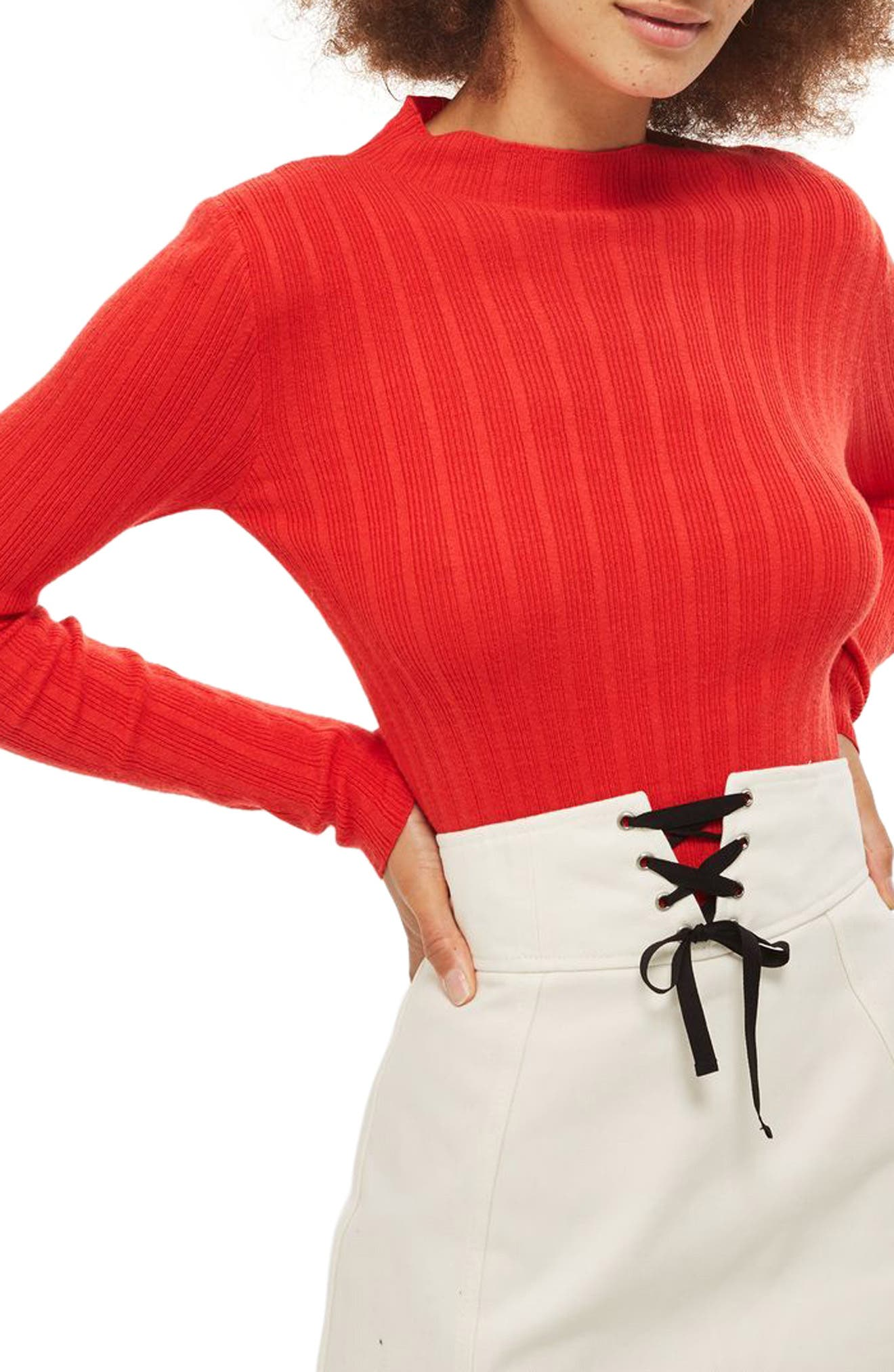 Snap Sleeve Ribbed Sweater,                         Main,                         color, Orange