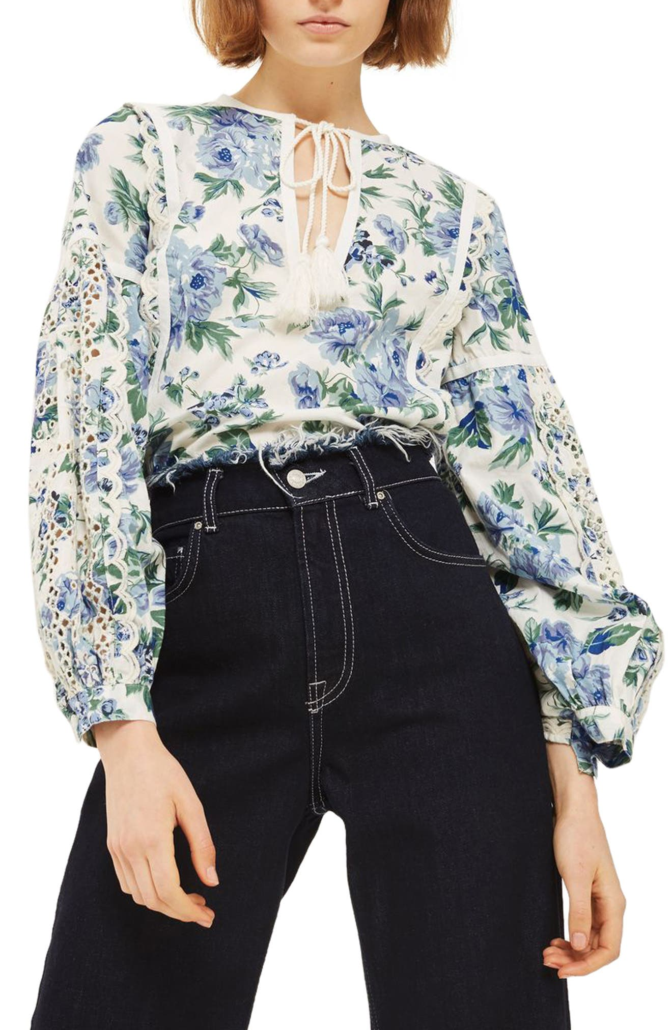 Alternate Image 1 Selected - Topshop Balloon Sleeve Peasant Blouse