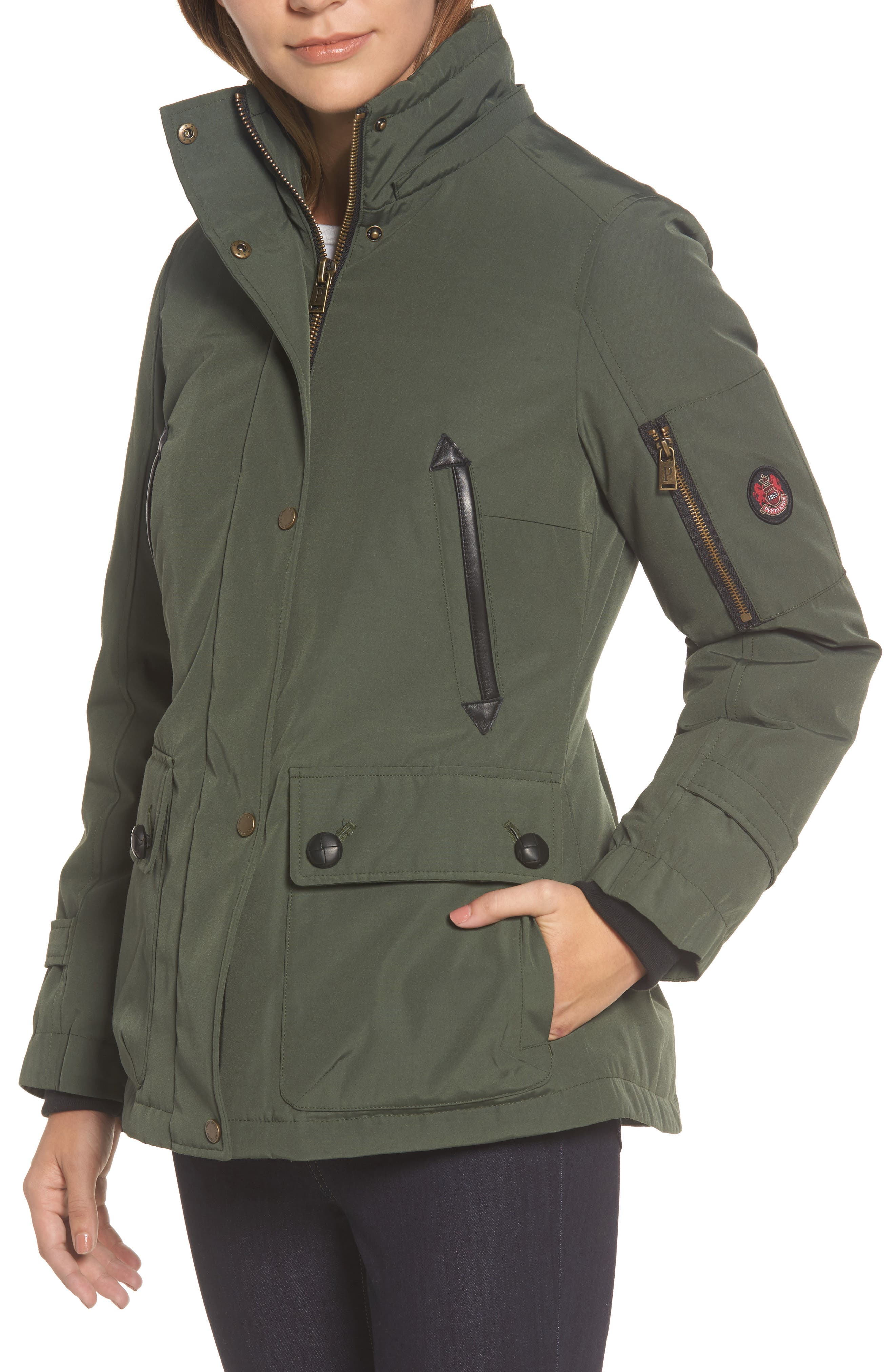 Bachelor Water Repellent Hooded Down Parka with Genuine Coyote Fur Trim,                             Alternate thumbnail 4, color,                             Olive