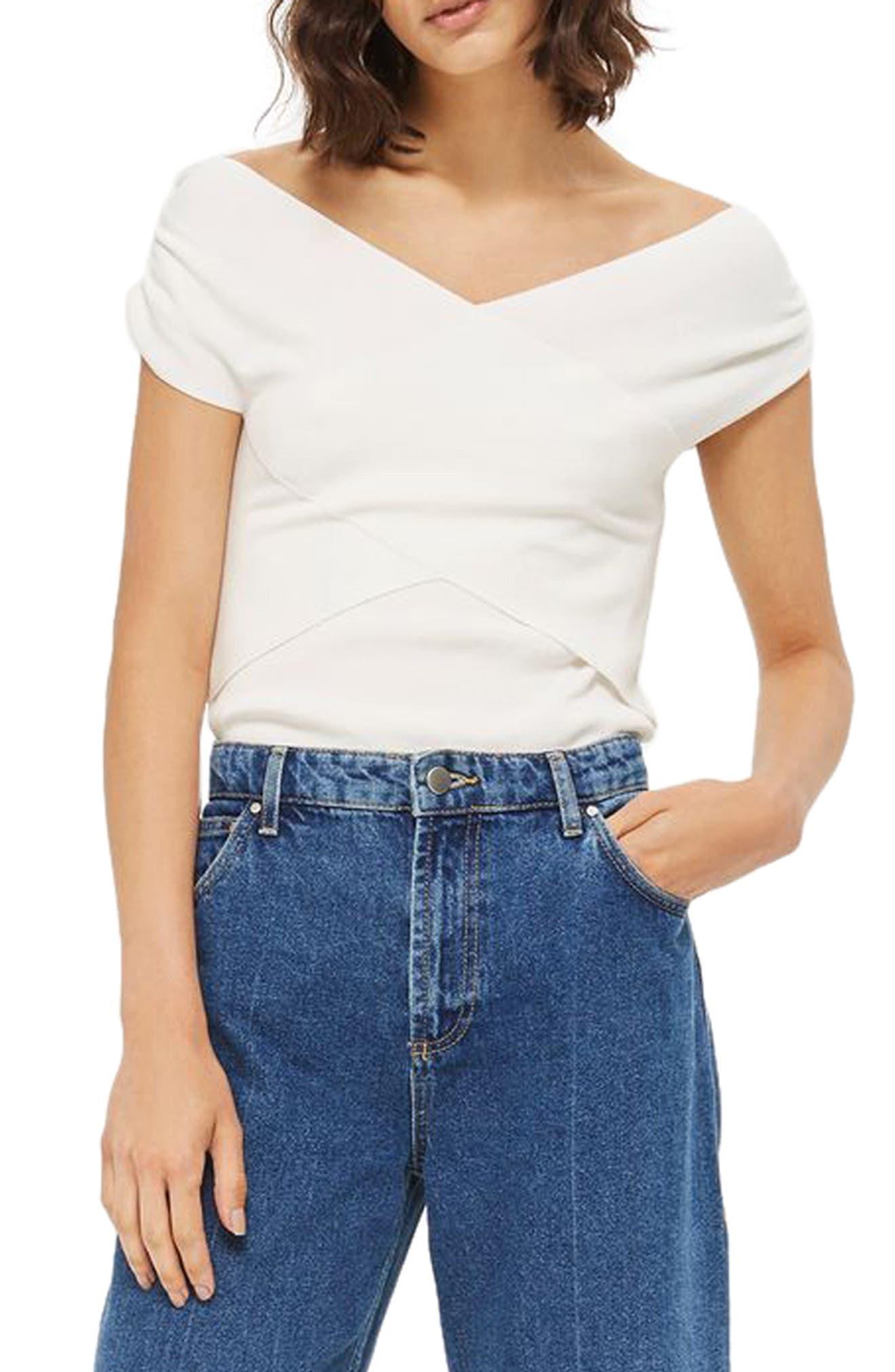 Main Image - Topshop Ruched Shoulder Bardot Top