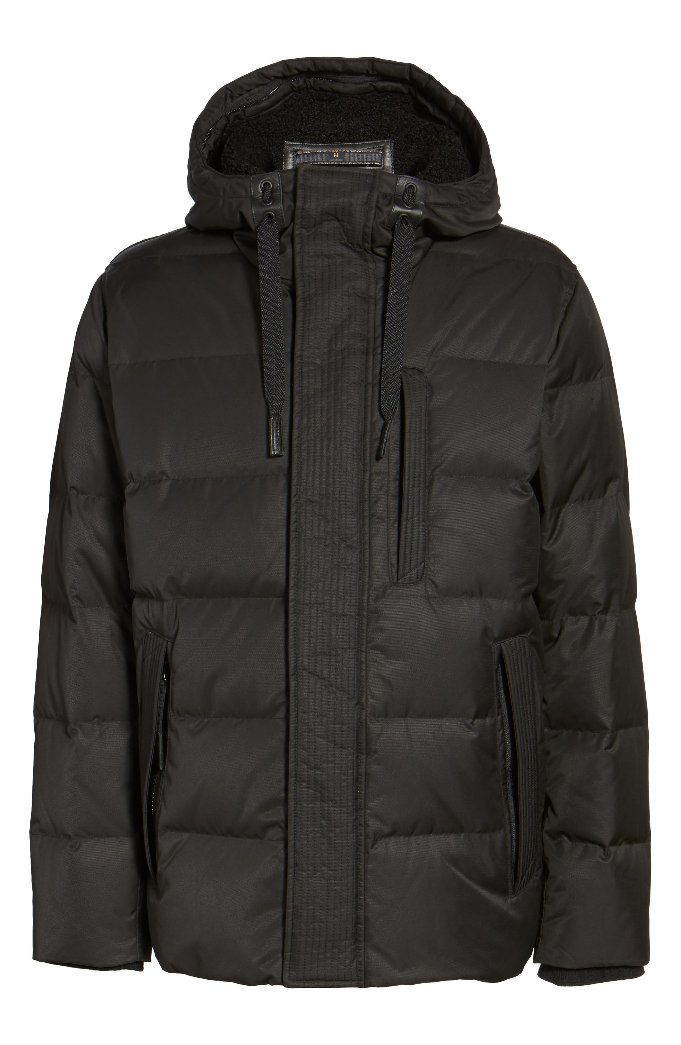 Groton Slim Down Jacket with Faux Shearling Lining,                             Alternate thumbnail 5, color,                             Black