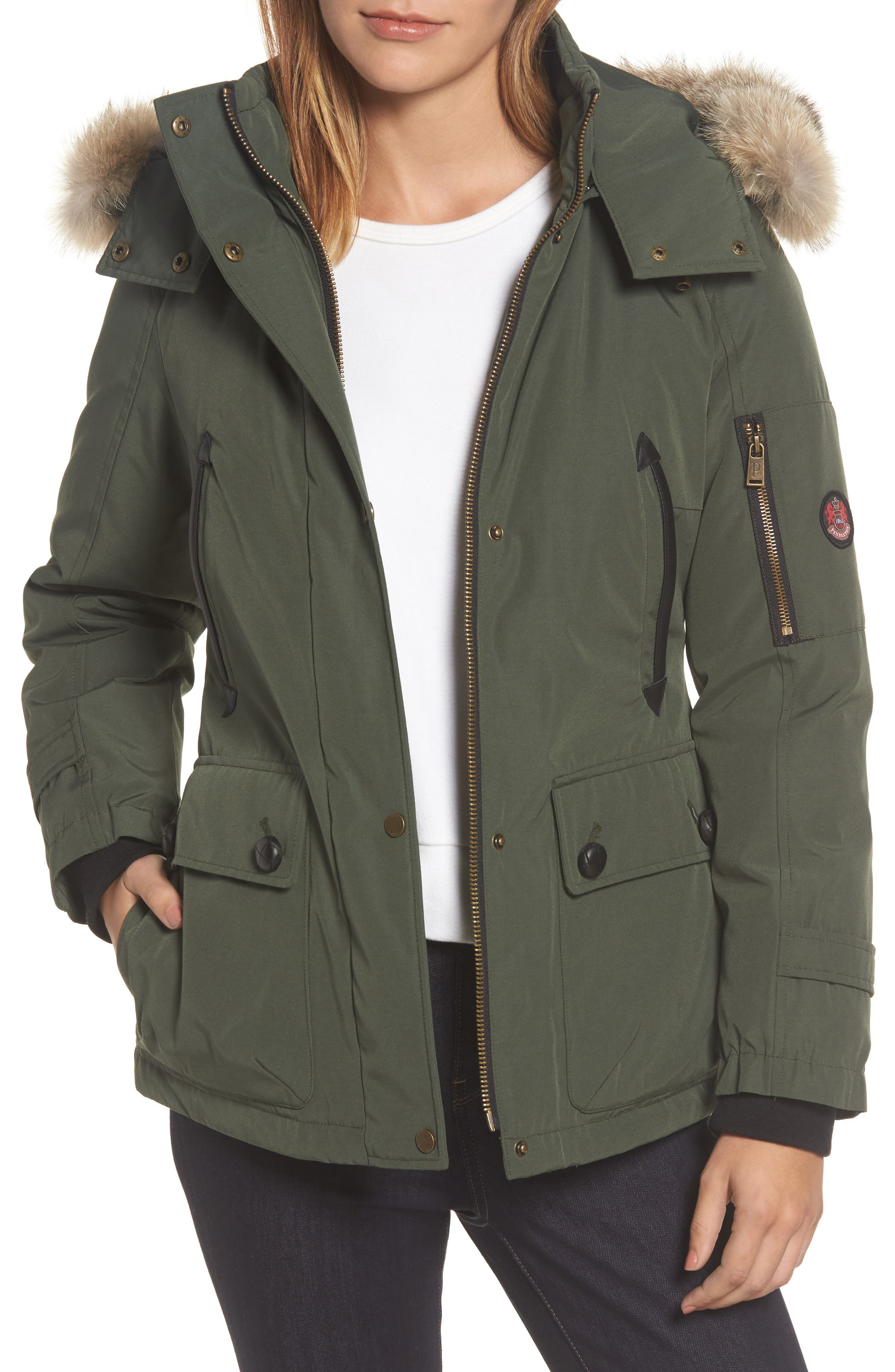 Bachelor Water Repellent Hooded Down Parka with Genuine Coyote Fur Trim,                         Main,                         color, Olive