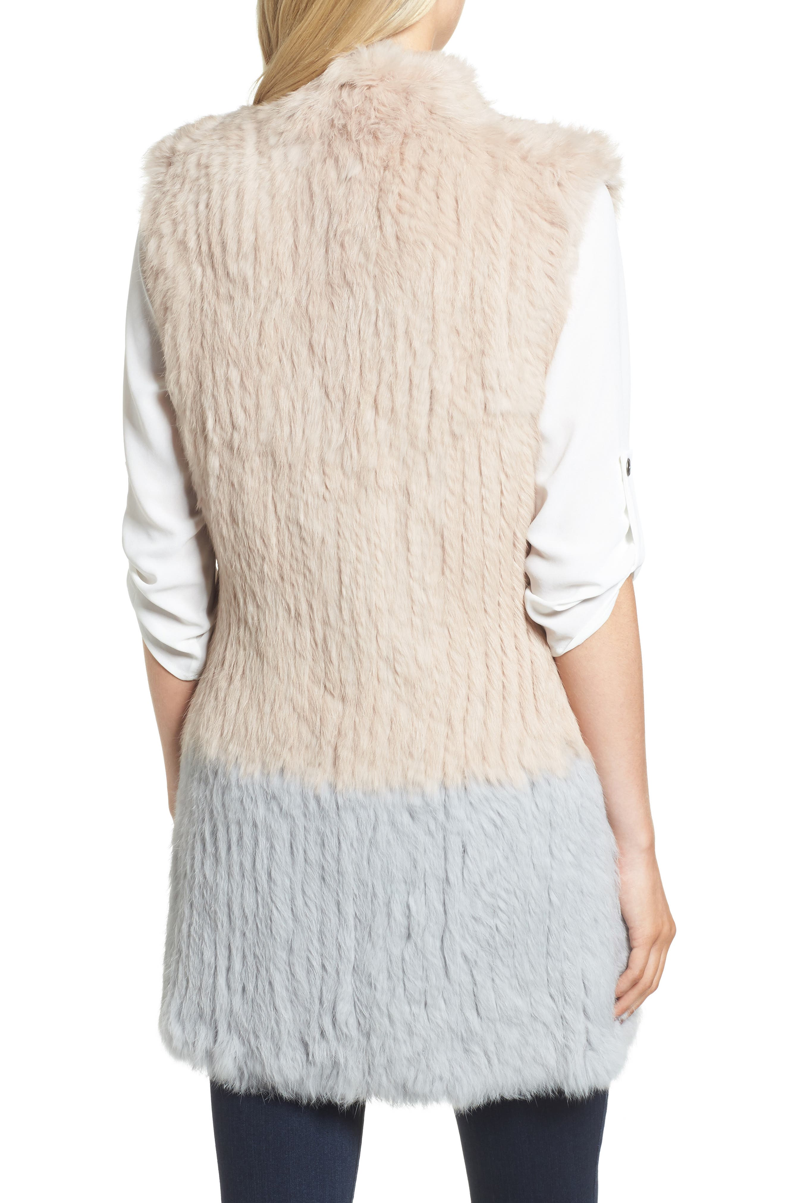 Clean Colorblock Genuine Rabbit Fur Vest,                             Alternate thumbnail 2, color,                             Blush/ Grey