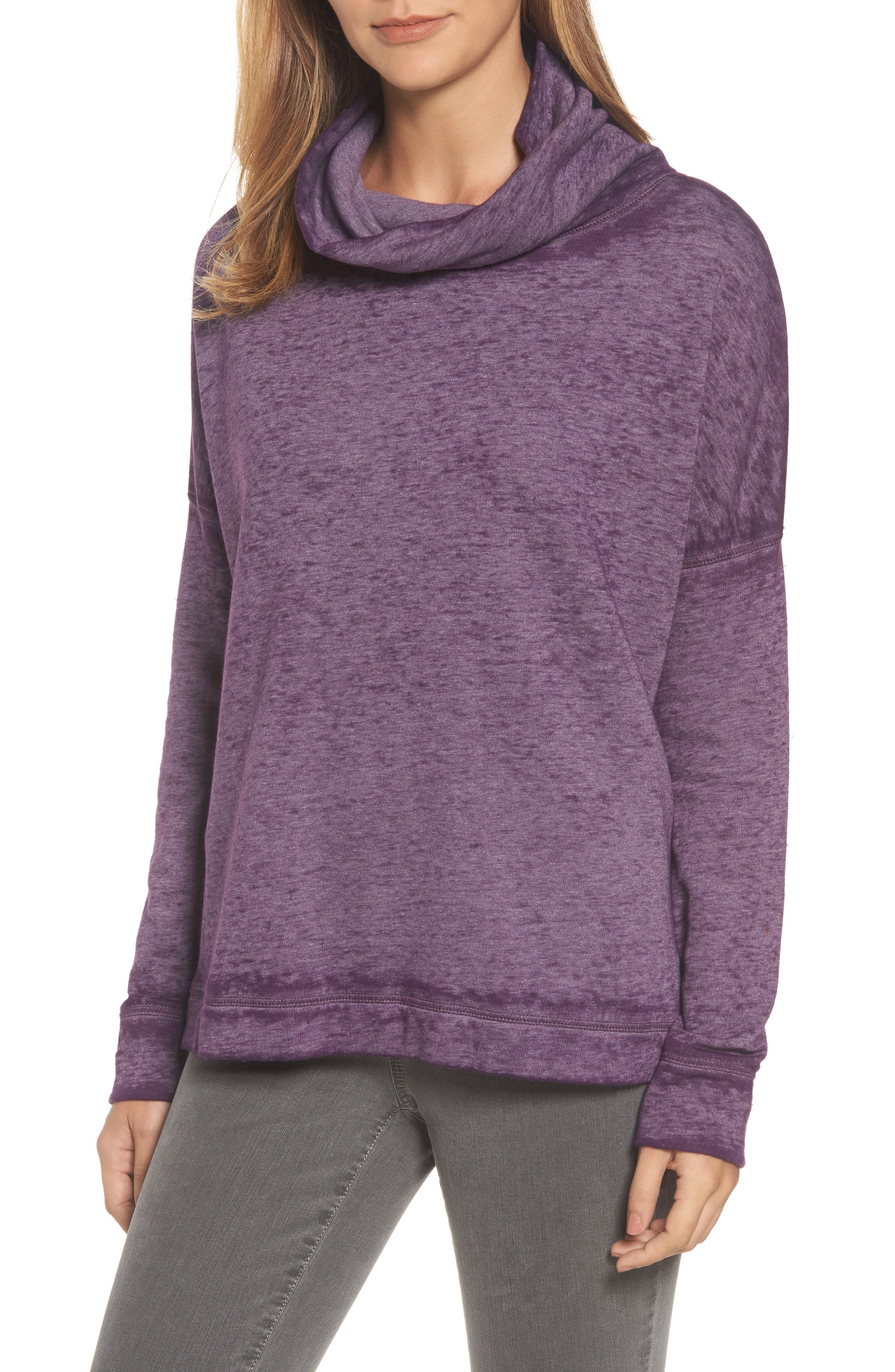 Caslon® Burnout Back Pleat Sweatshirt