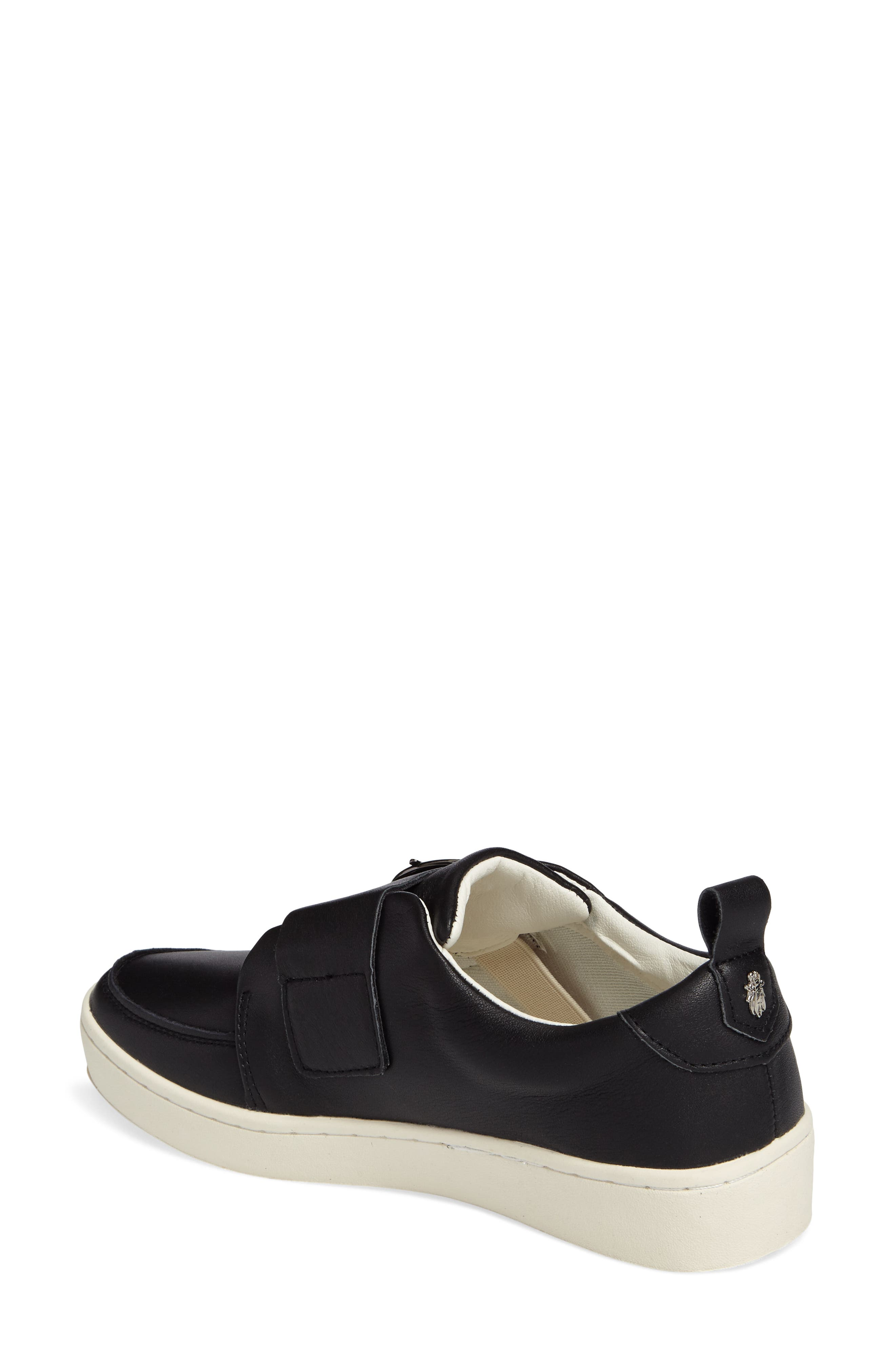 Mice Buckle Sneaker,                             Alternate thumbnail 2, color,                             Black Leather