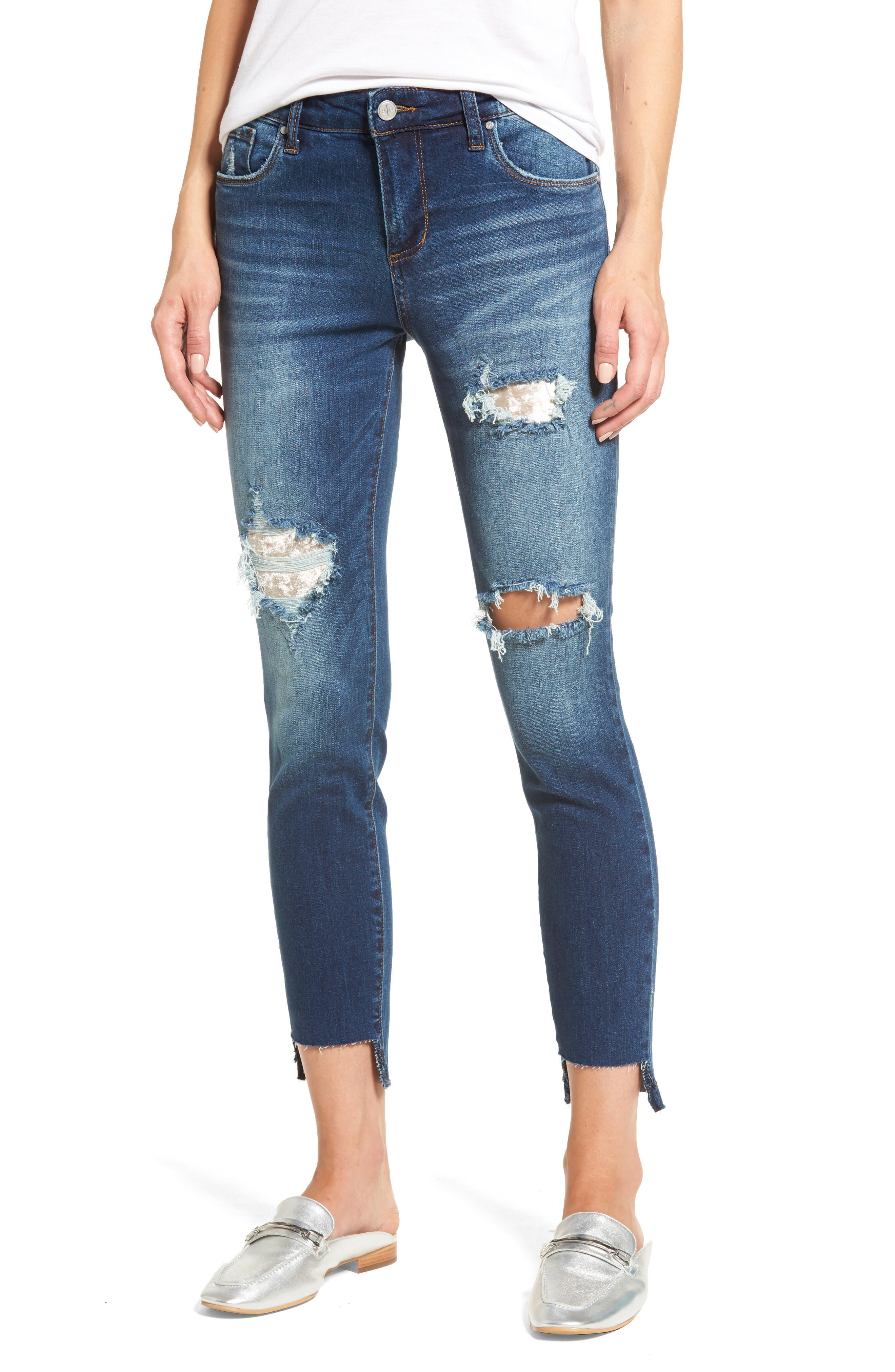 Ripped Step Hem Skinny Jeans,                         Main,                         color, Medium Wash