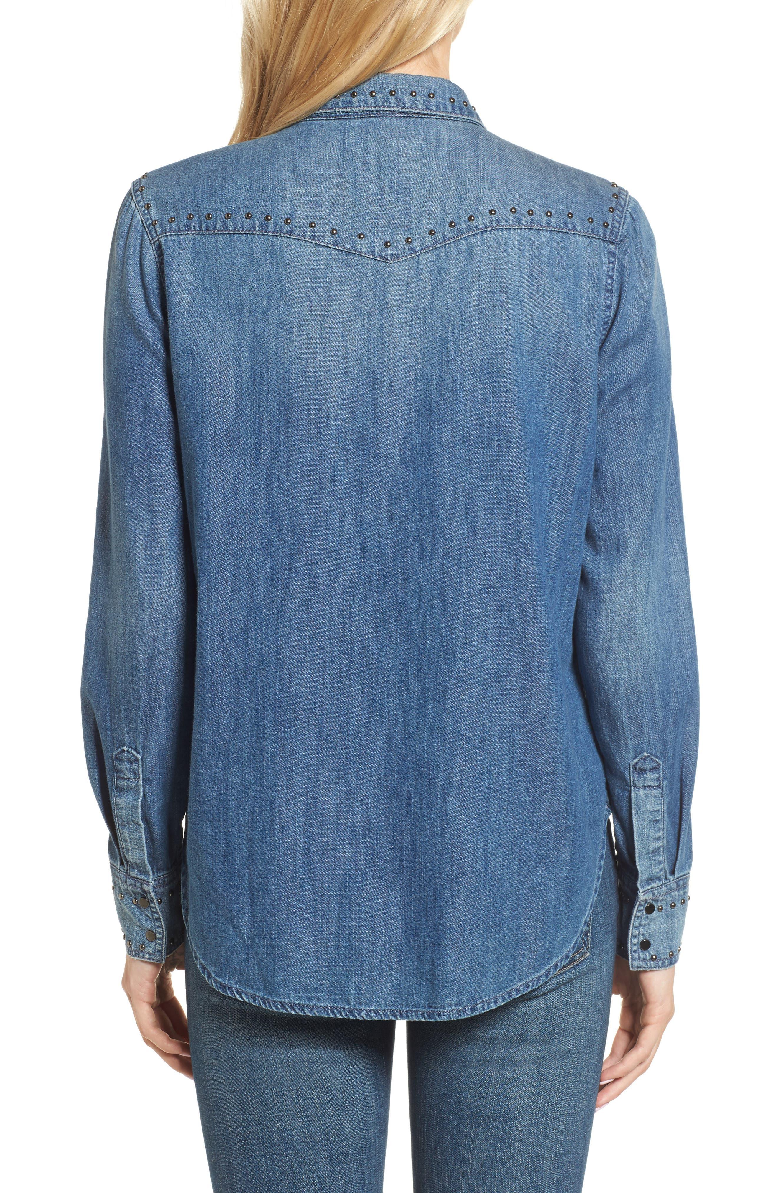 Deanna Studded Denim Shirt,                             Alternate thumbnail 2, color,                             Fountain