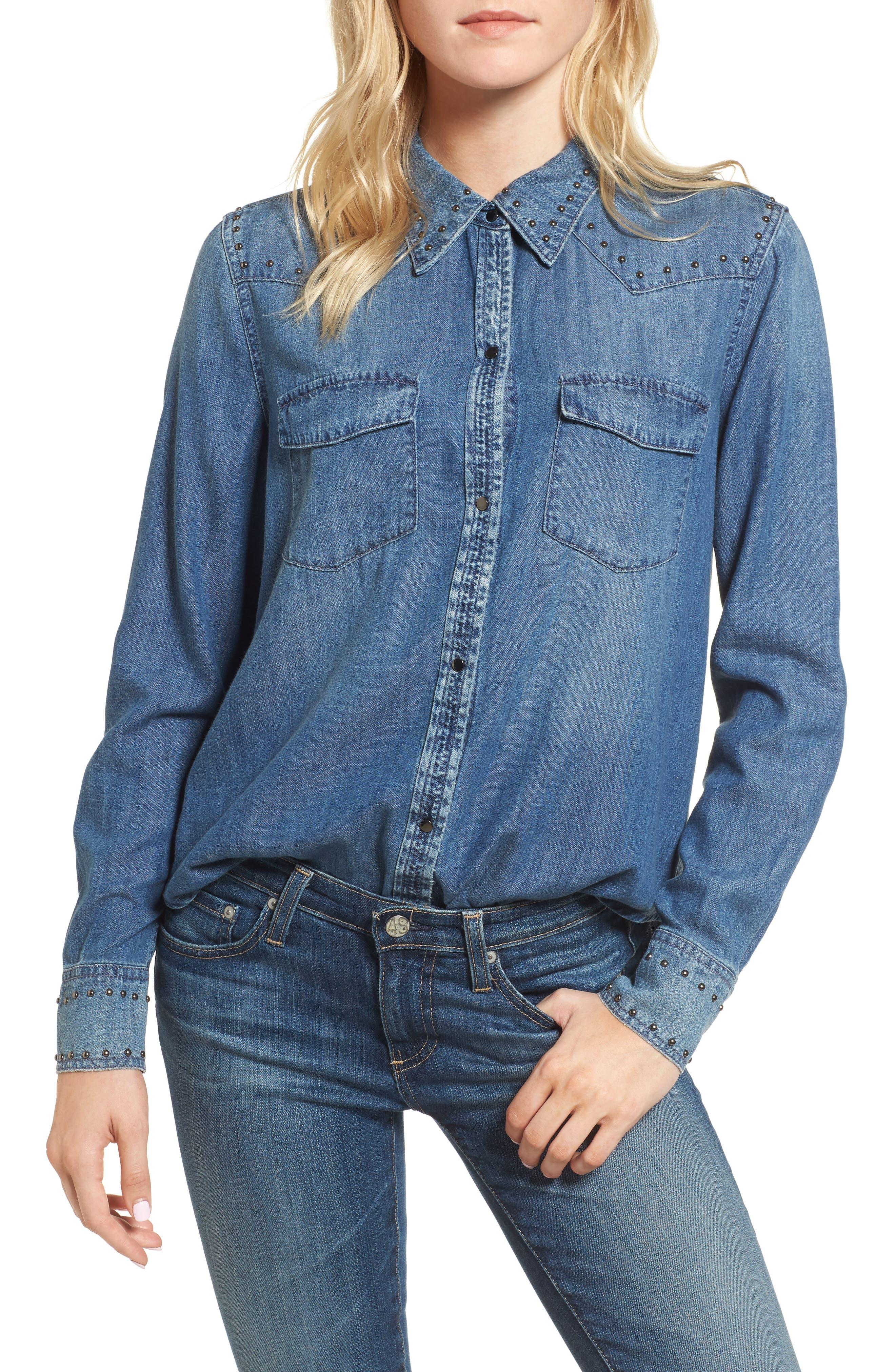 Deanna Studded Denim Shirt,                         Main,                         color, Fountain