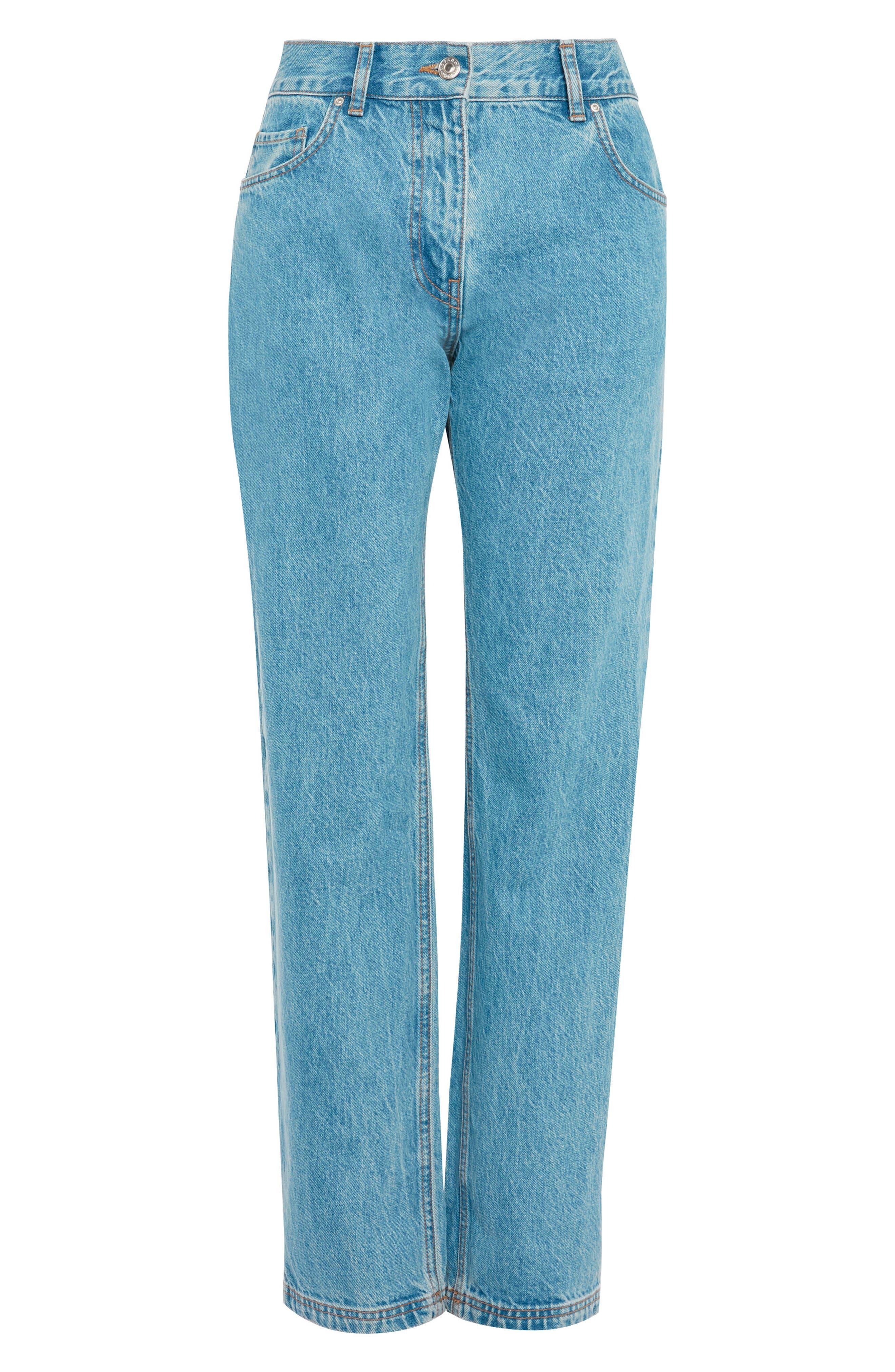 Topshop Light Wash Straight Leg Jeans